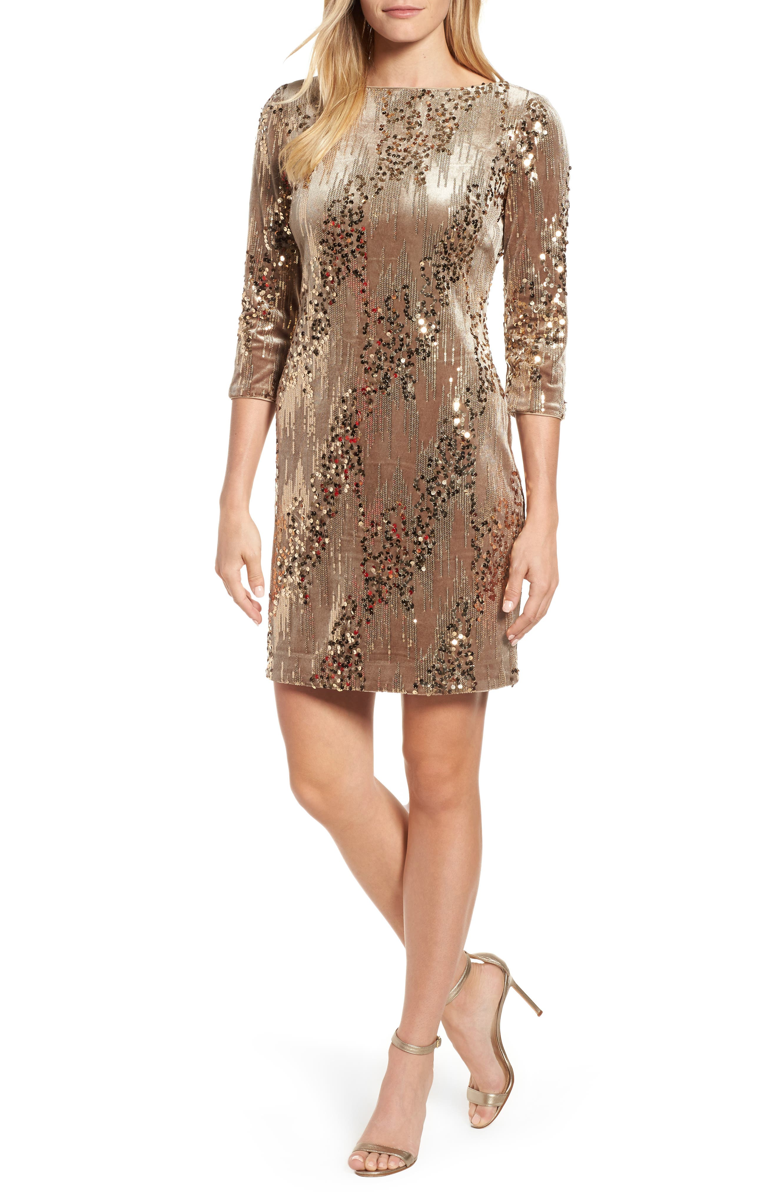 Main Image - Eliza J Sequin & Velvet Sheath Dress (Regular & Petite)