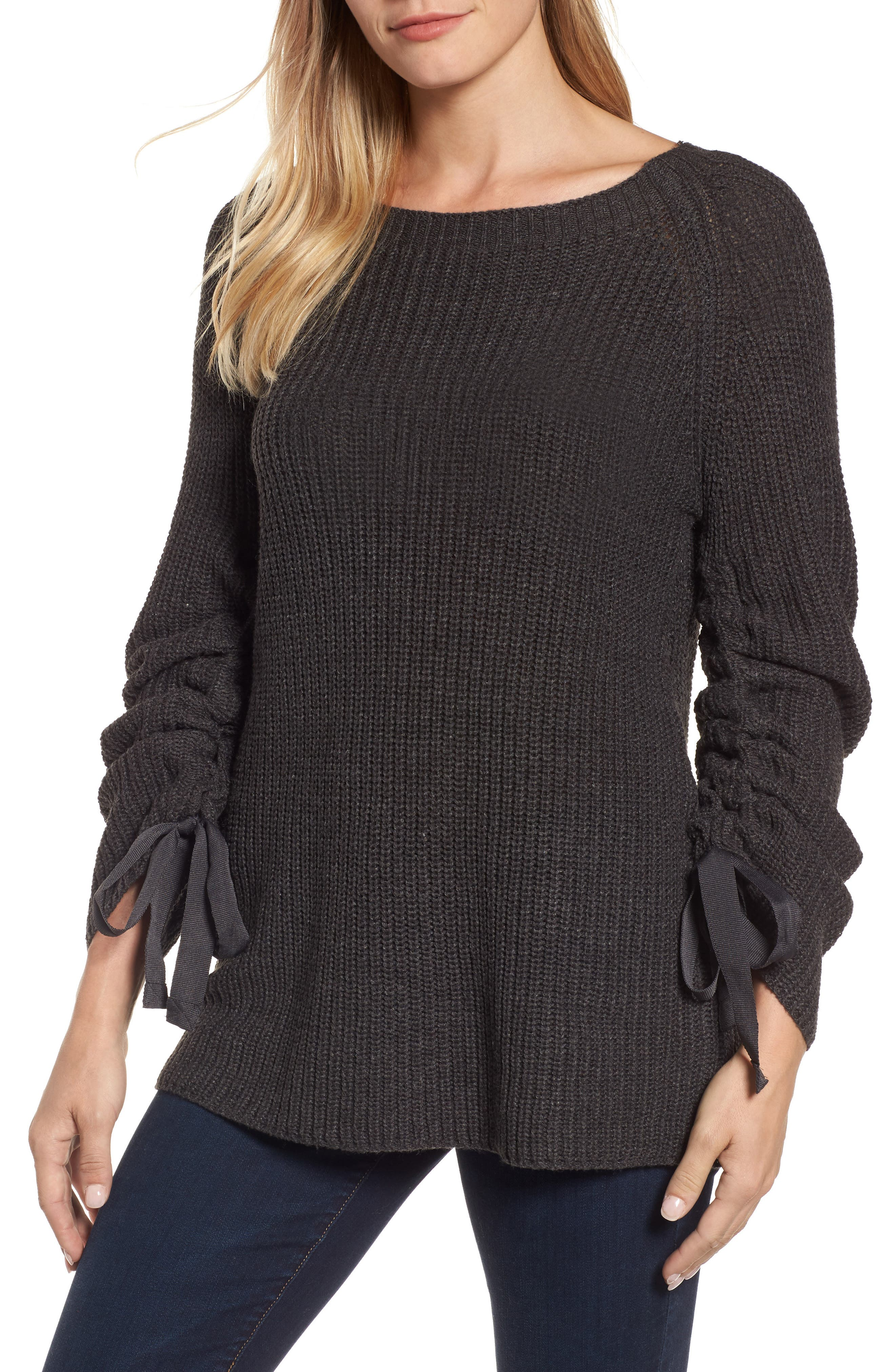 RD Style Tie Sleeve Sweater,                         Main,                         color, Ash Grey