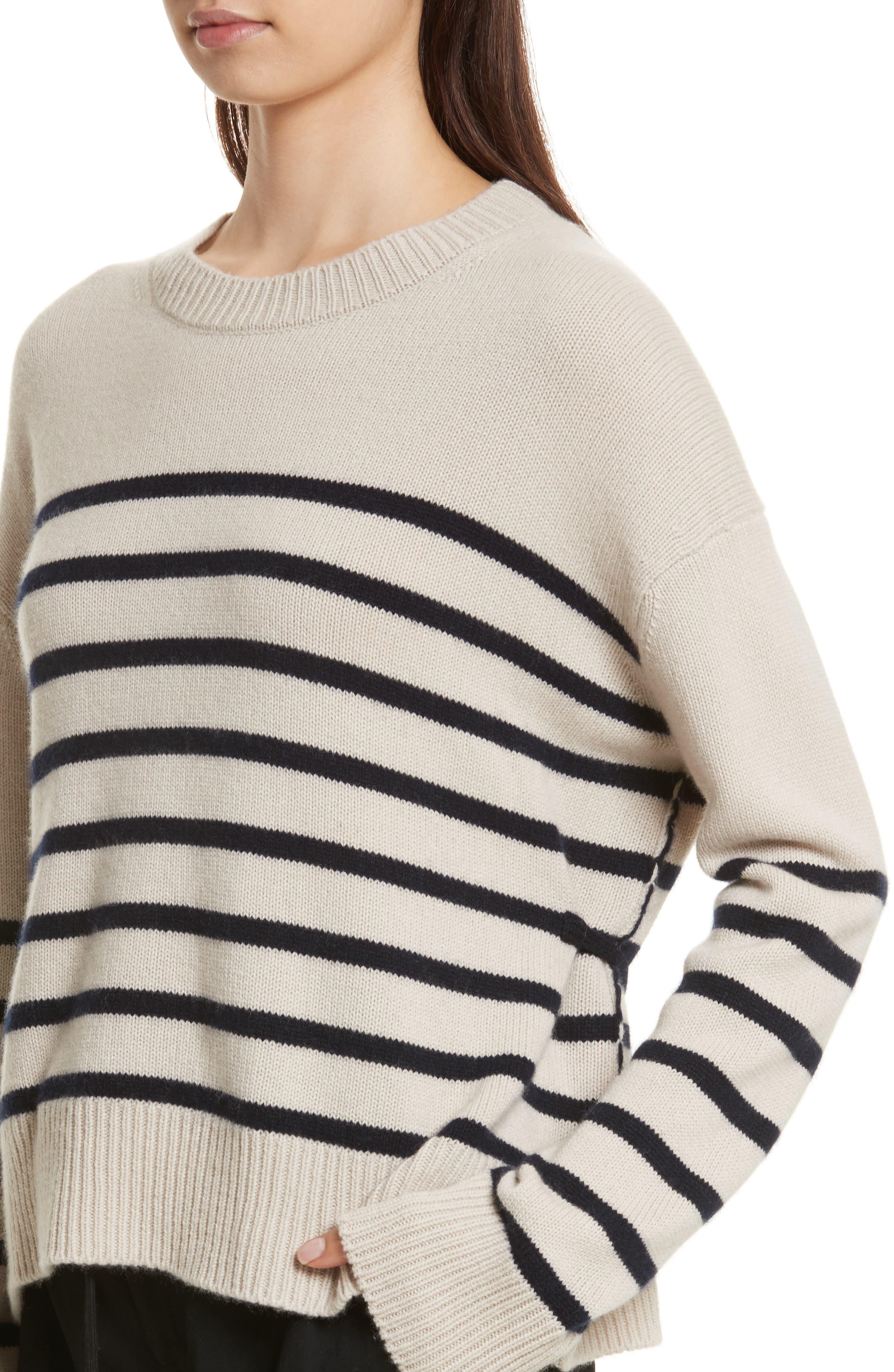 Cashmere Stripe Boxy Crew Sweater,                             Alternate thumbnail 4, color,                             Chalet/ Coastal