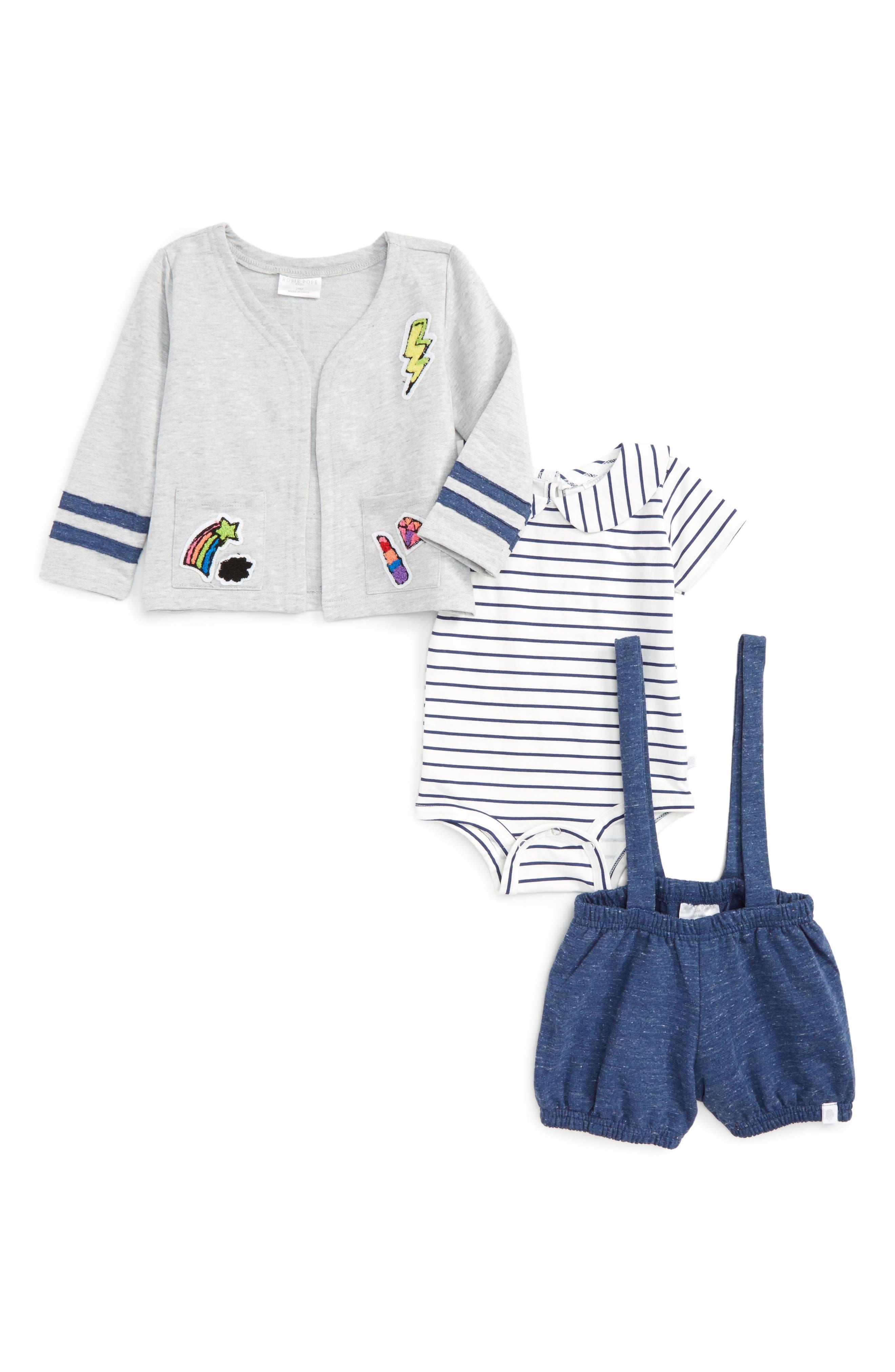 Rosie Pope Stripe Bodysuit, Bubble Shorts & Jacket Set (Baby Girls)