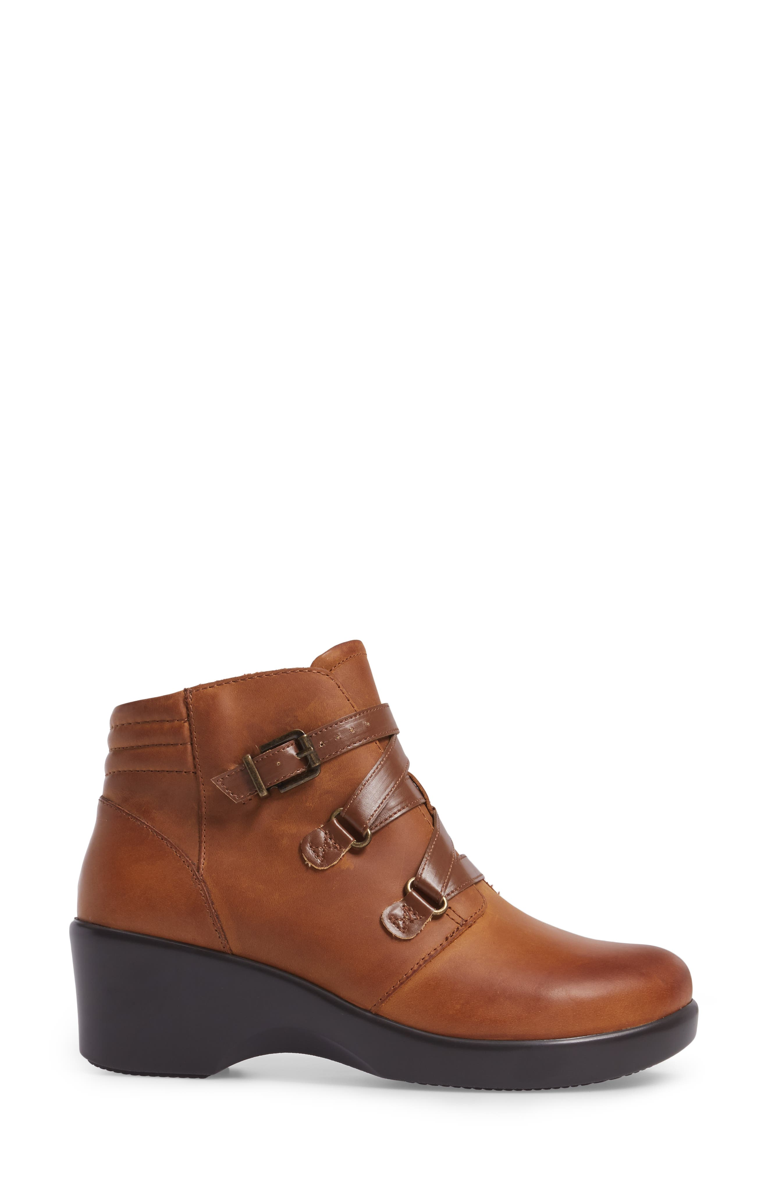 Indi Demi Wedge Bootie,                             Alternate thumbnail 3, color,                             Walnut Leather