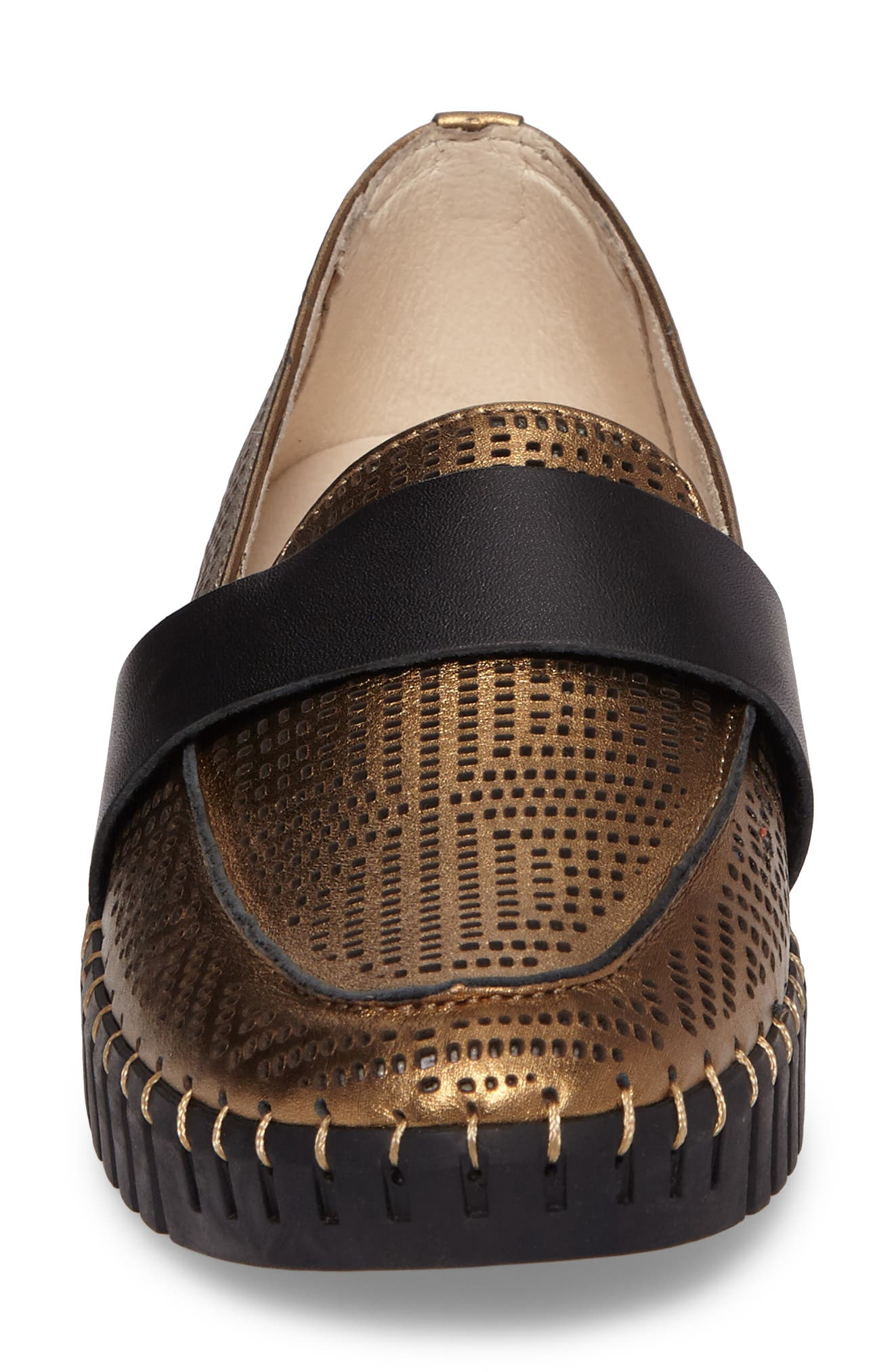 TW74 Perforated Flat,                             Alternate thumbnail 4, color,                             Bronze Leather
