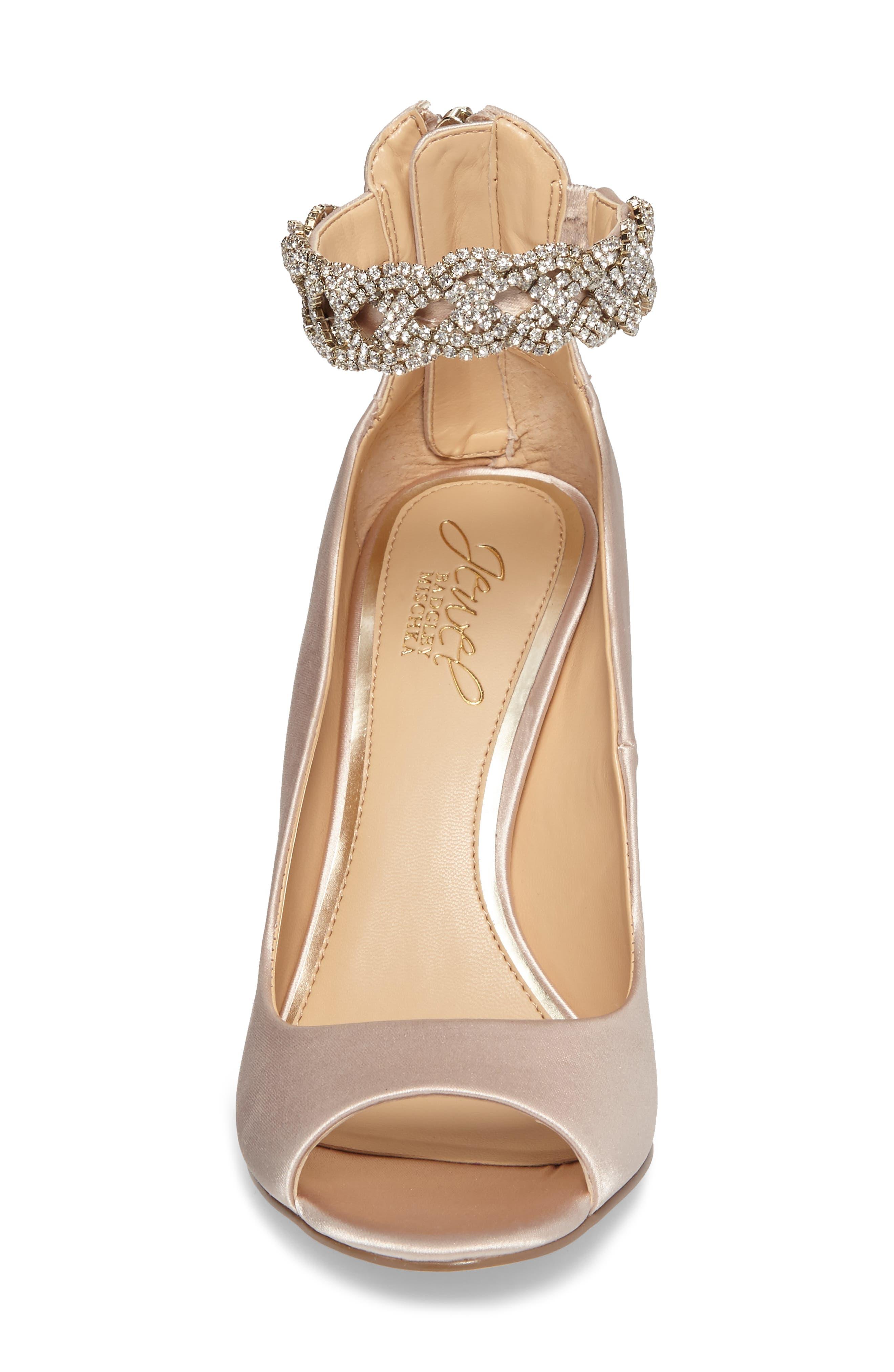 Alanis Embellished Ankle Strap Pump,                             Alternate thumbnail 4, color,                             Champagne Satin