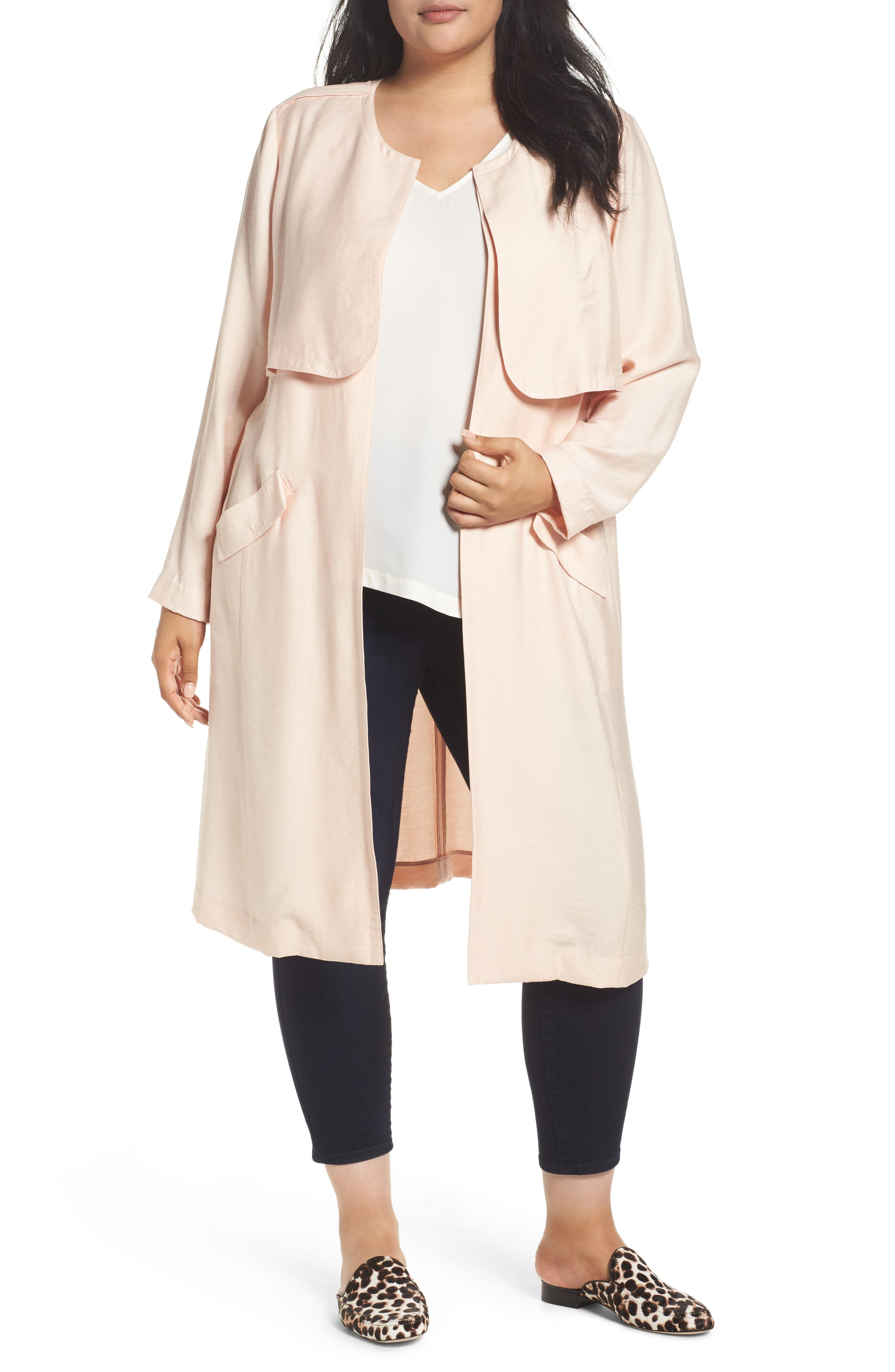 Long Open Front Trench Coat,                             Main thumbnail 1, color,                             Pink Wood
