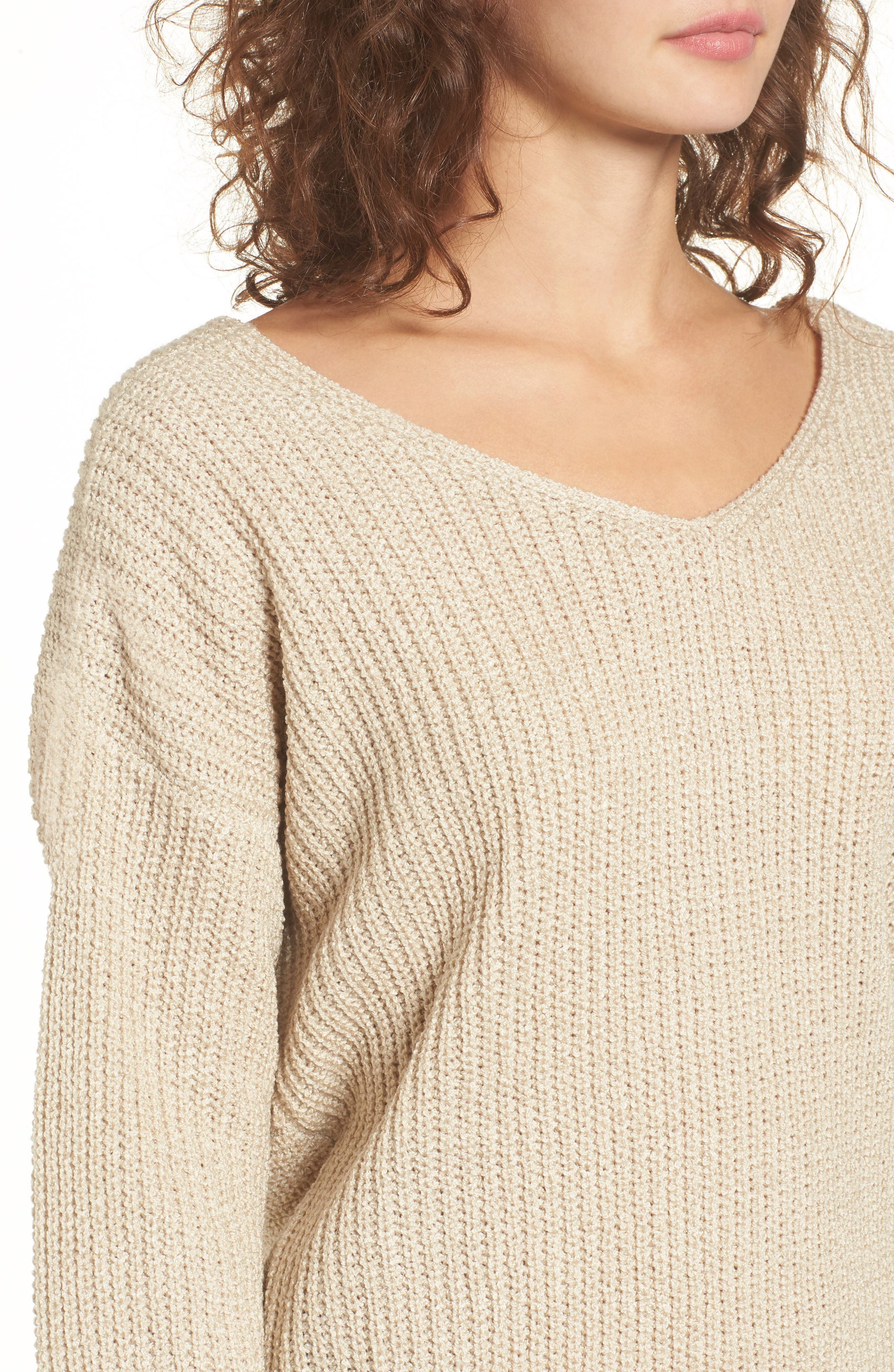 Twist Back Sweater,                             Alternate thumbnail 4, color,                             Oatmeal