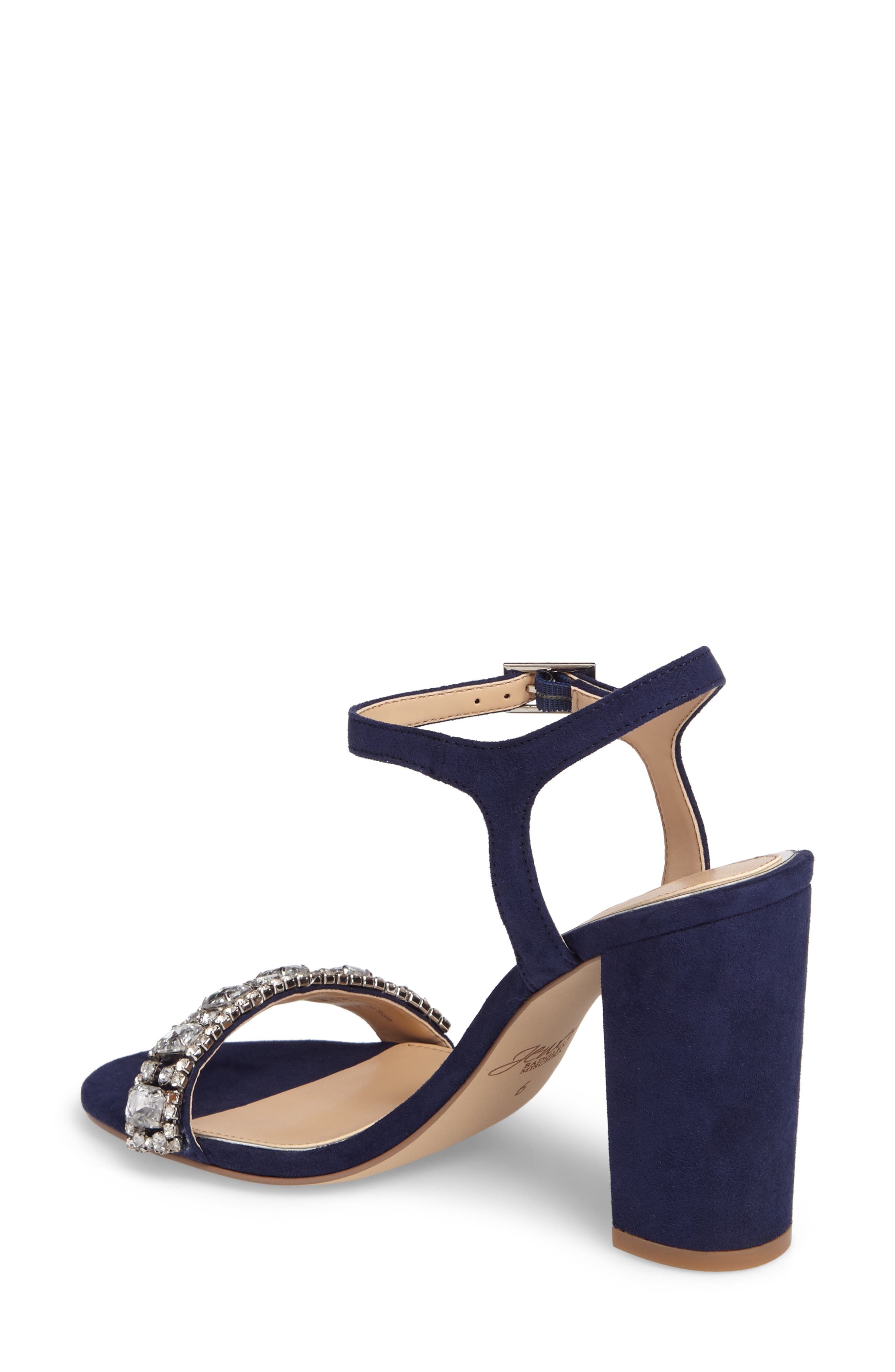 Hendricks Embellished Block Heel Sandal,                             Alternate thumbnail 2, color,                             Navy Suede