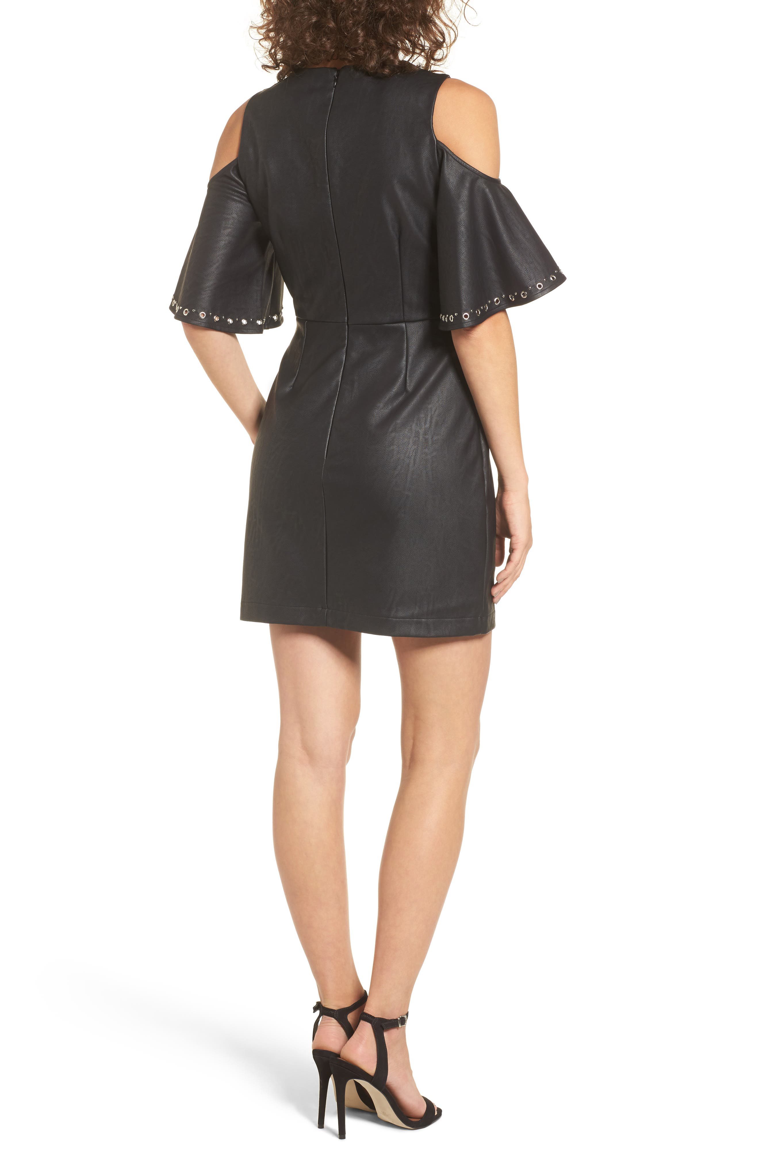 Dakota Cold Shoulder Minidress,                             Alternate thumbnail 3, color,                             Black