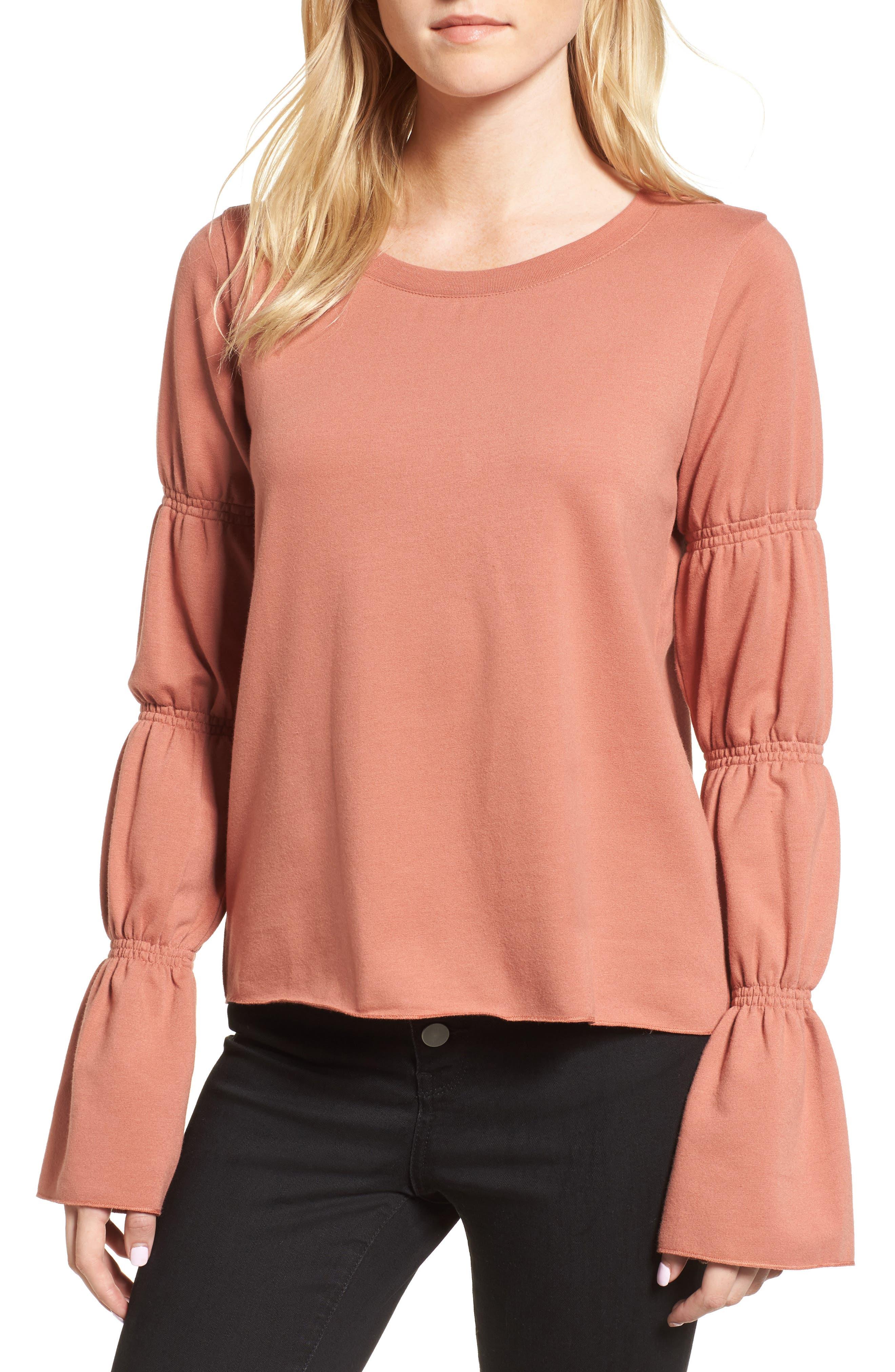 Flare Cuff Sweatshirt,                         Main,                         color, Coral Cedar