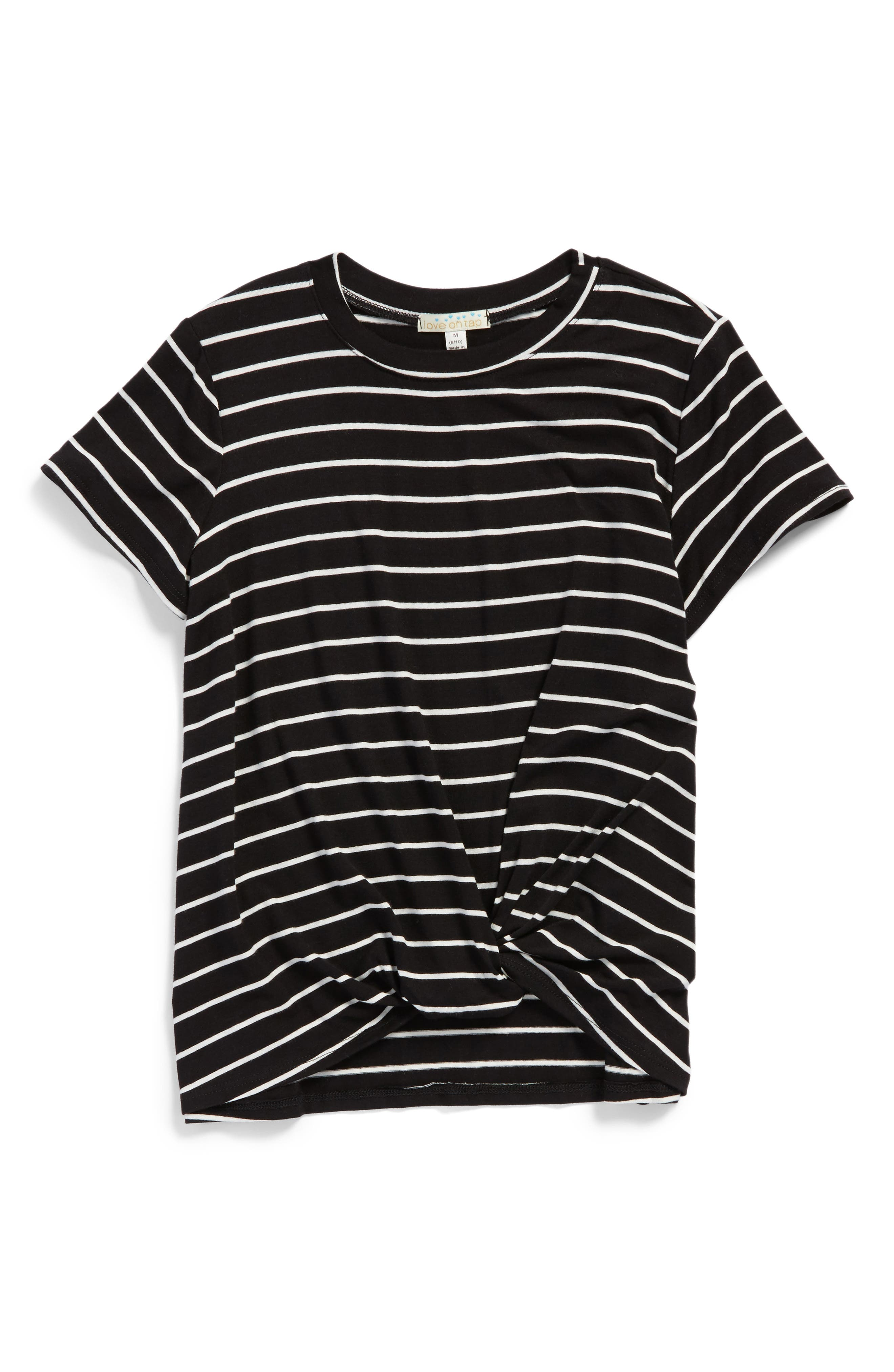 Knotted Stripe Tee,                         Main,                         color, Black/ White