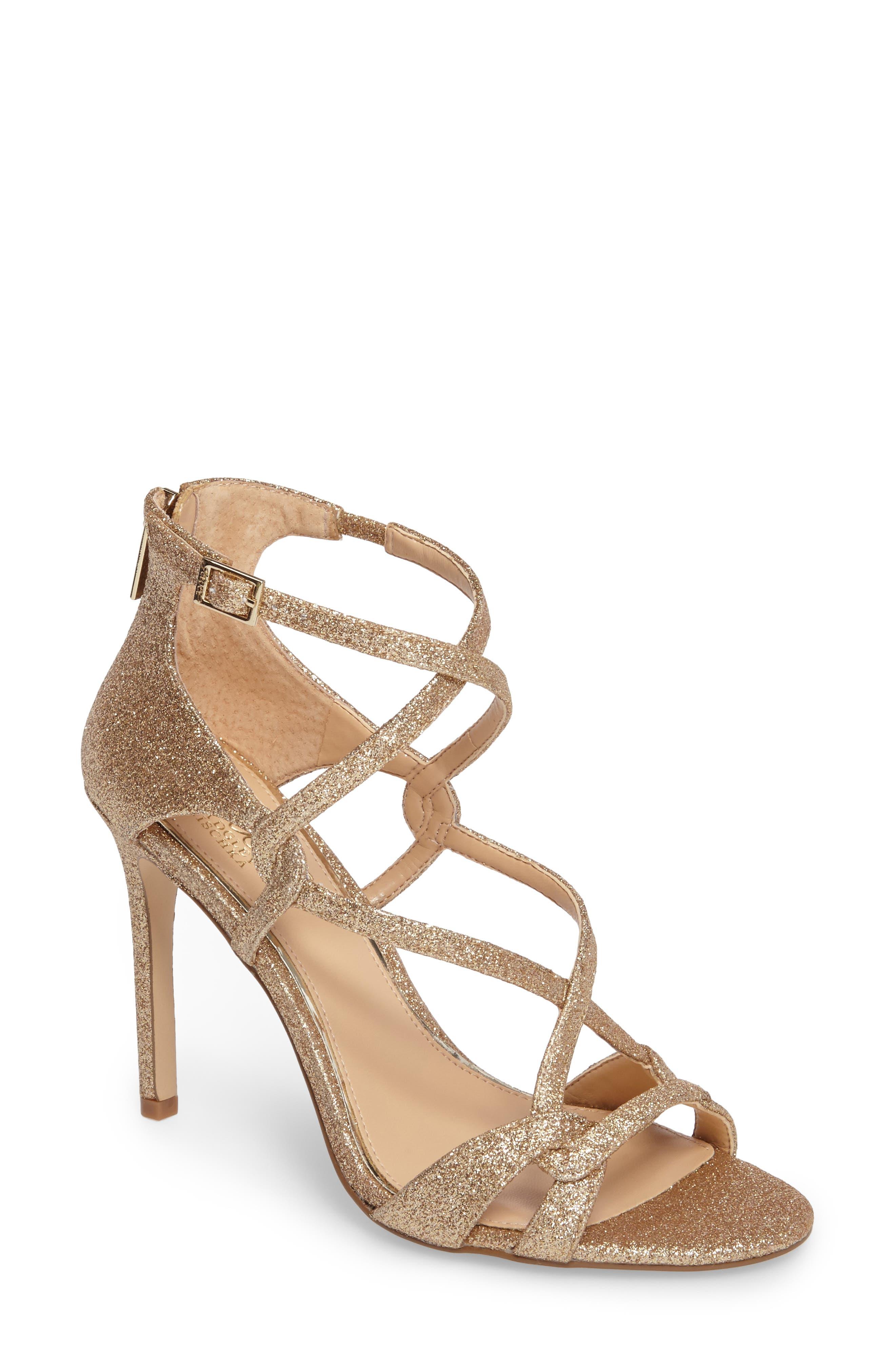 Jewel Badgley Mischka Aliza Strappy Glitter Sandal (Women)