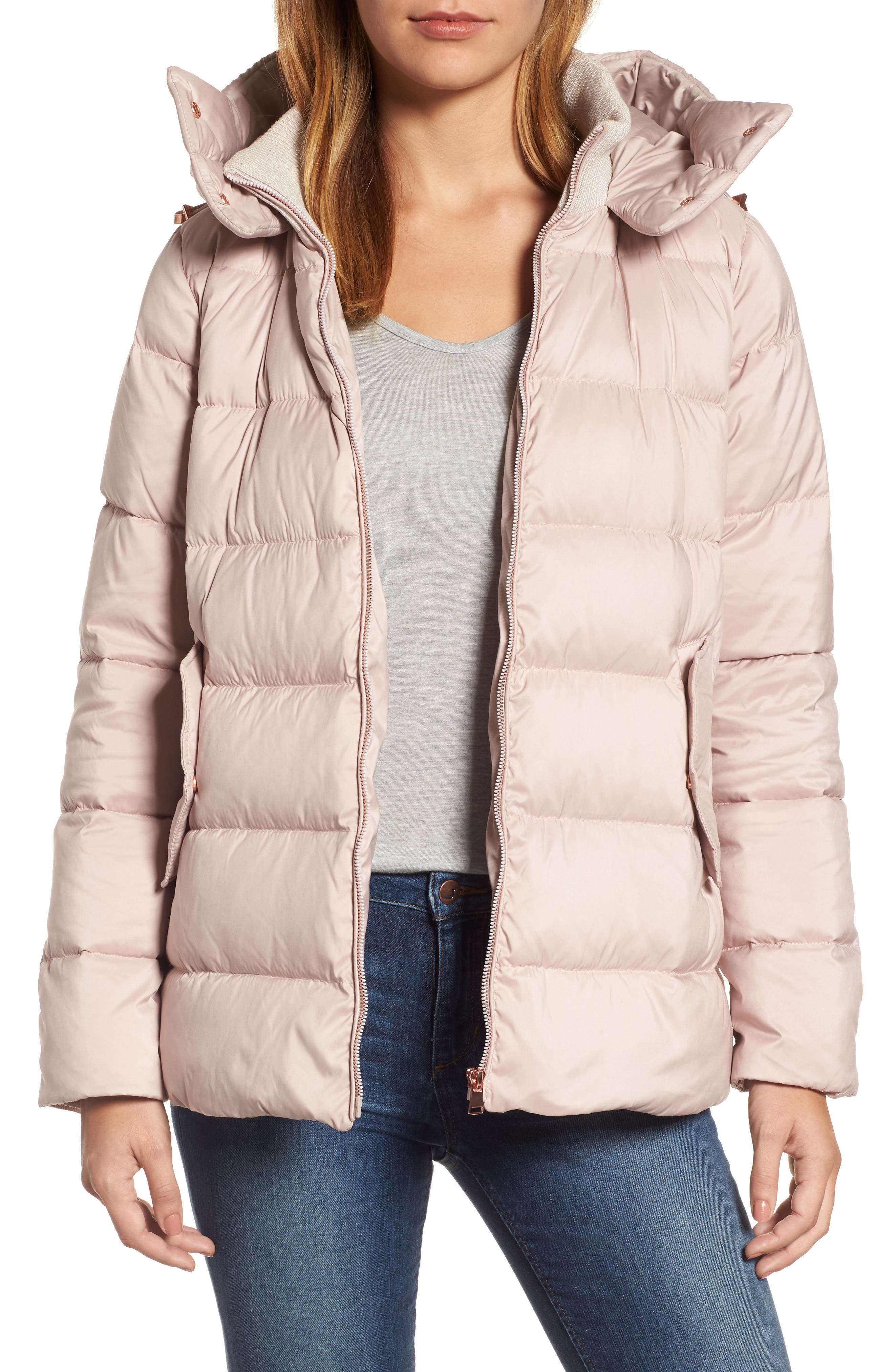 Hooded Puffer Jacket,                         Main,                         color, Petal Pink