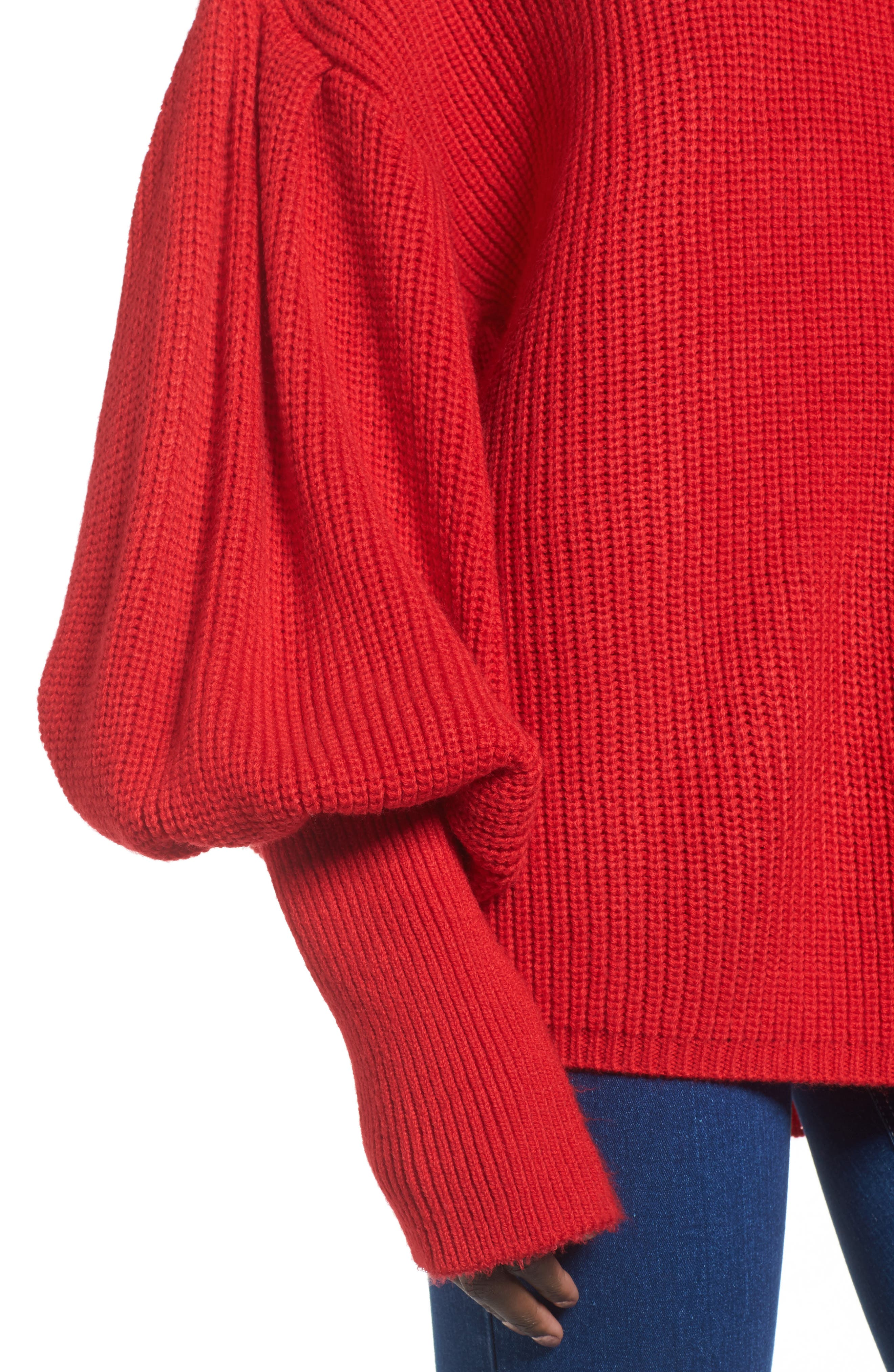Balloon Sleeve Turtleneck Sweater,                             Alternate thumbnail 6, color,                             Red
