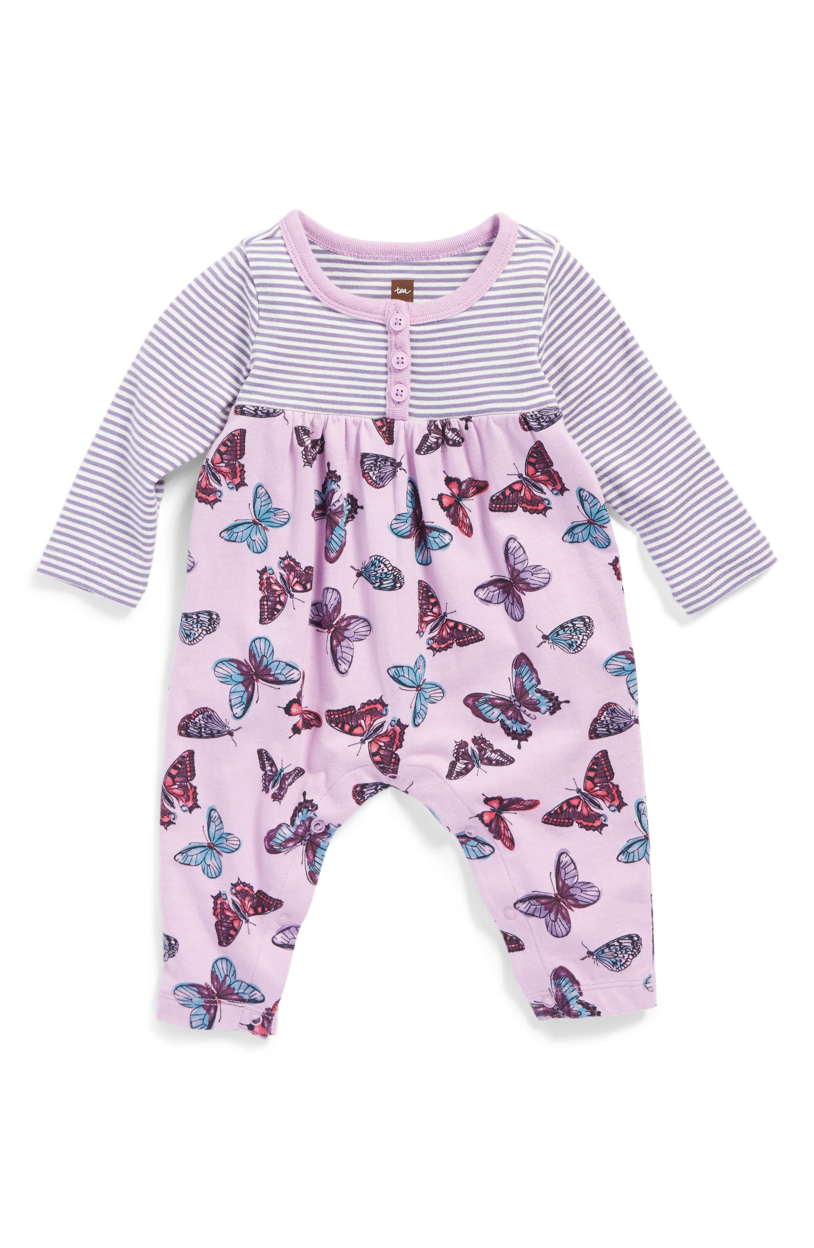 Main Image - Tea Collection Sorcha Henley Romper (Baby Girls)