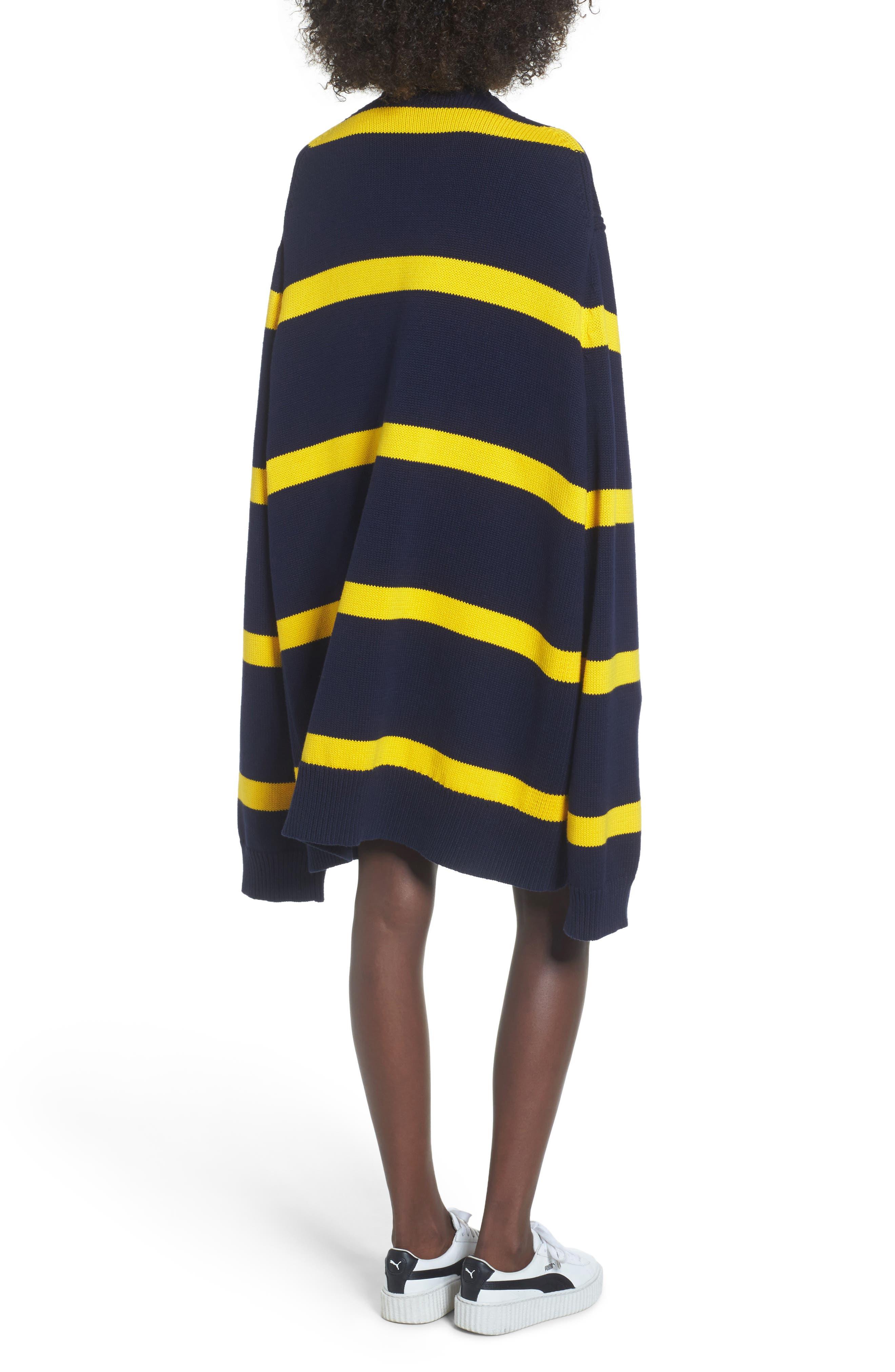 PUMA by Rihanna Longline Stripe Sweater,                             Alternate thumbnail 2, color,                             Navy/ Yellow Stripe