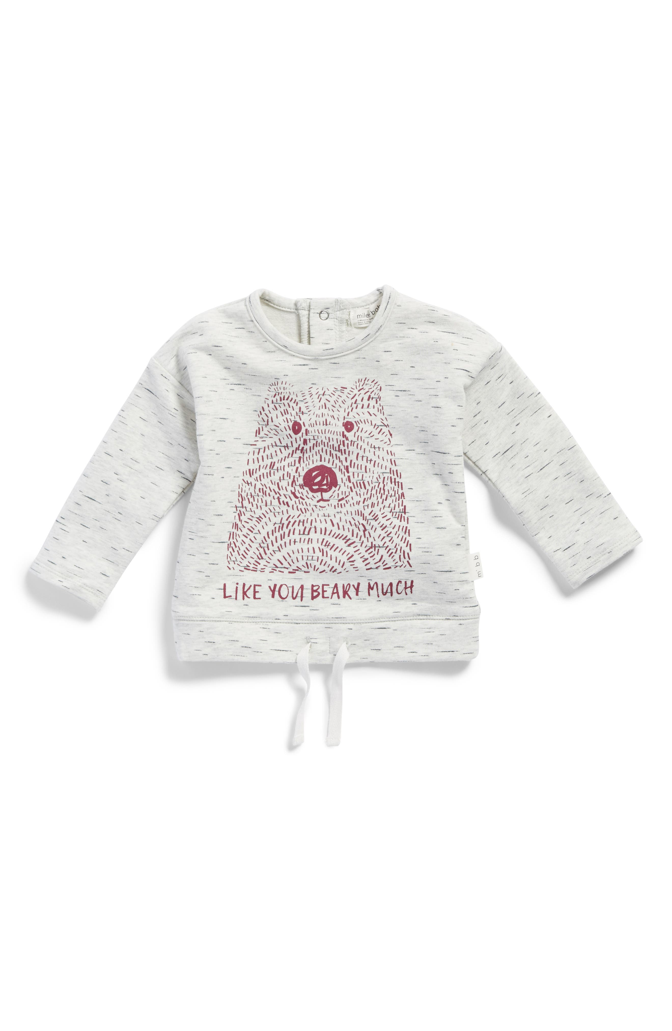 Like You Beary Much Graphic Tee,                         Main,                         color, Heather Grey