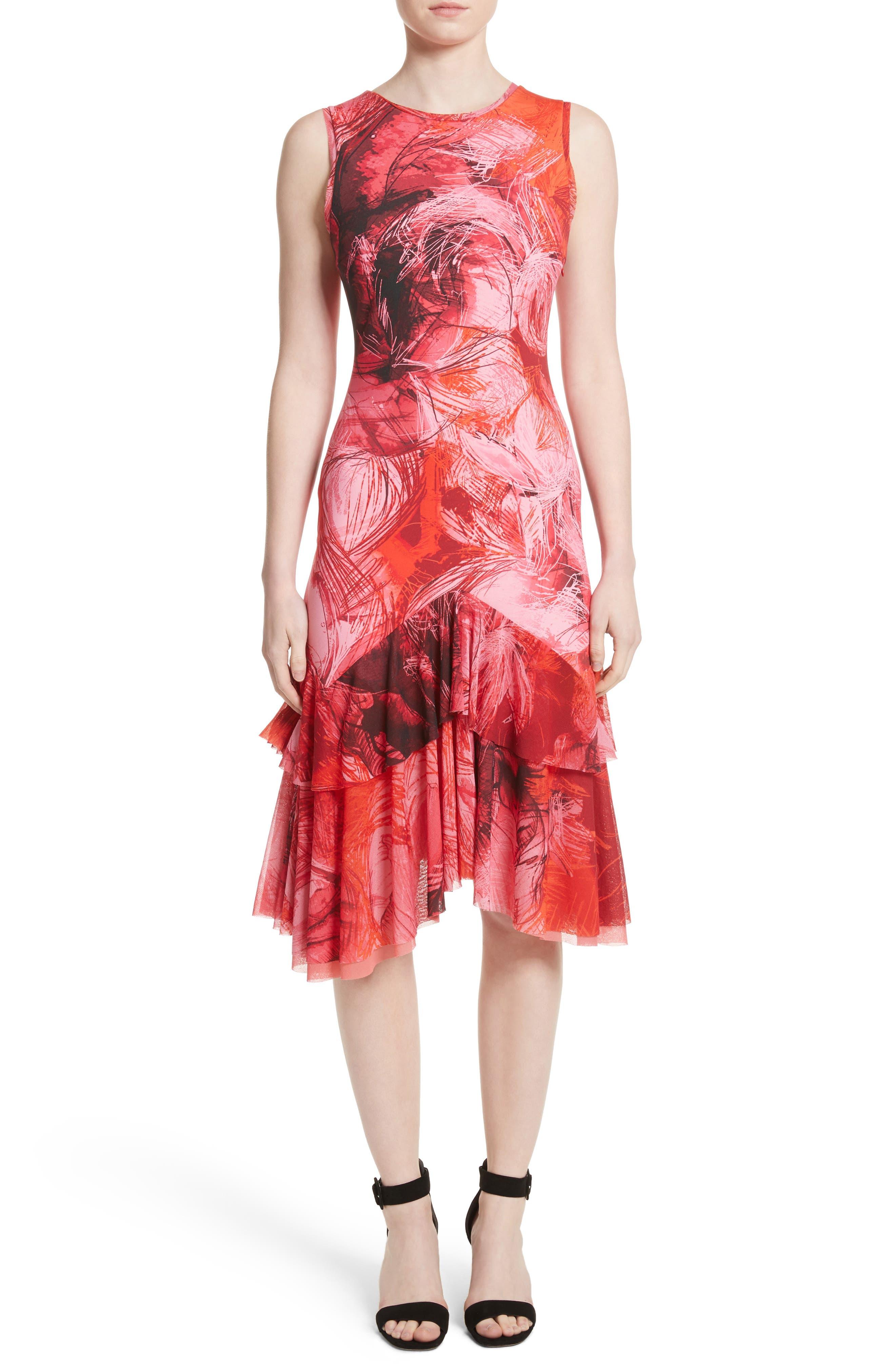 Print Tulle Ruffle Hem Dress,                         Main,                         color, Lima