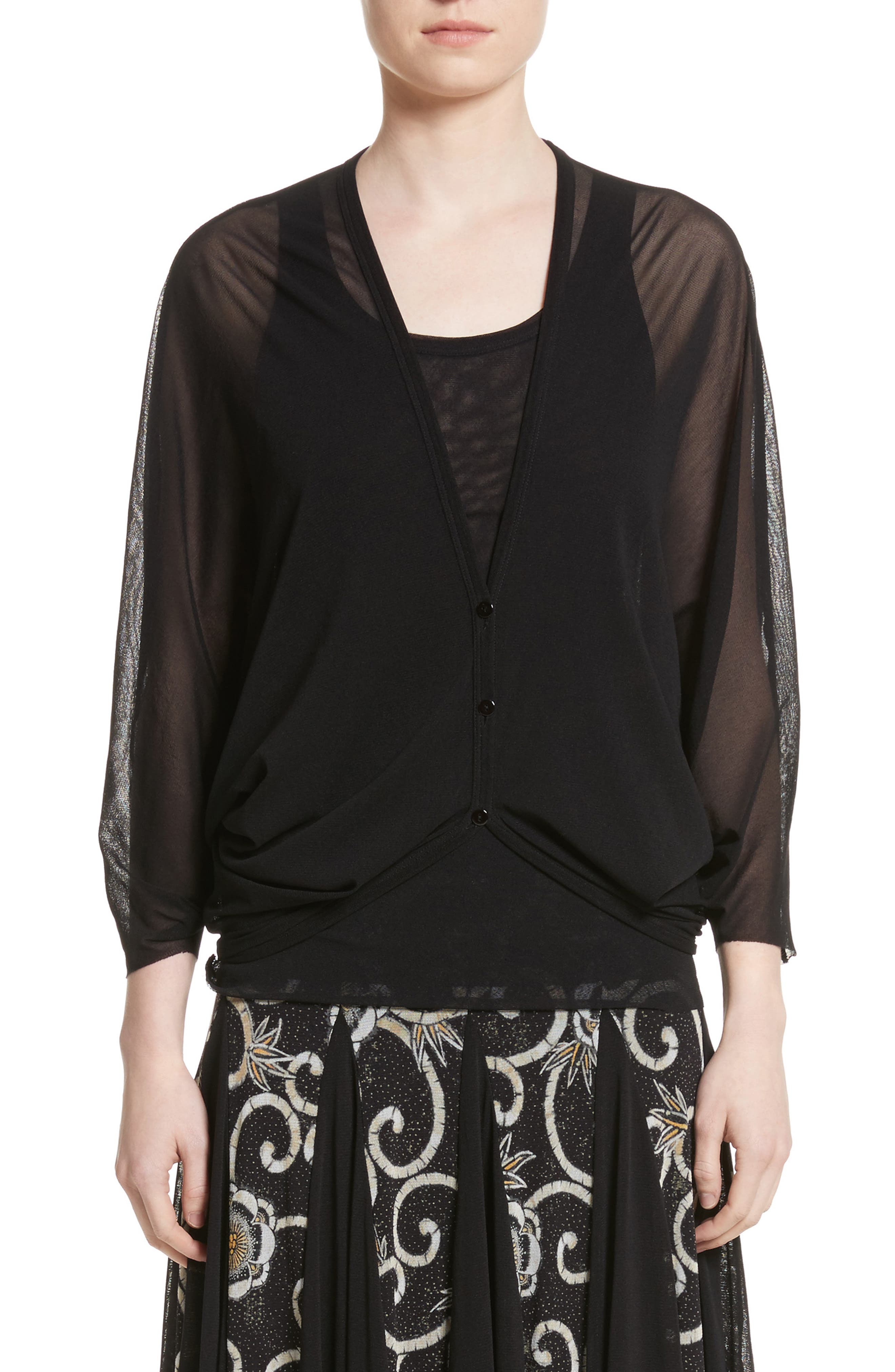 Tulle Cocoon Cardigan,                             Main thumbnail 1, color,                             Nero