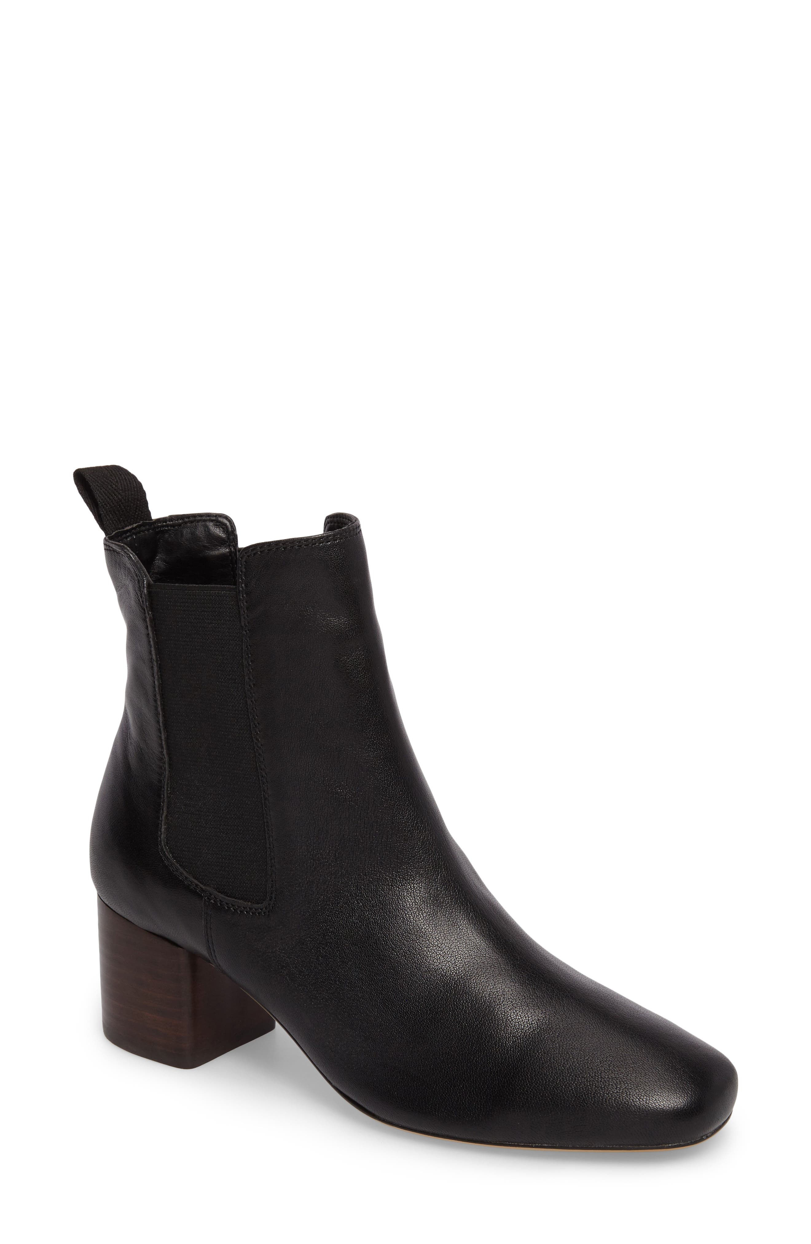 Alby Chelsea Bootie,                         Main,                         color, Black Nappa Leather