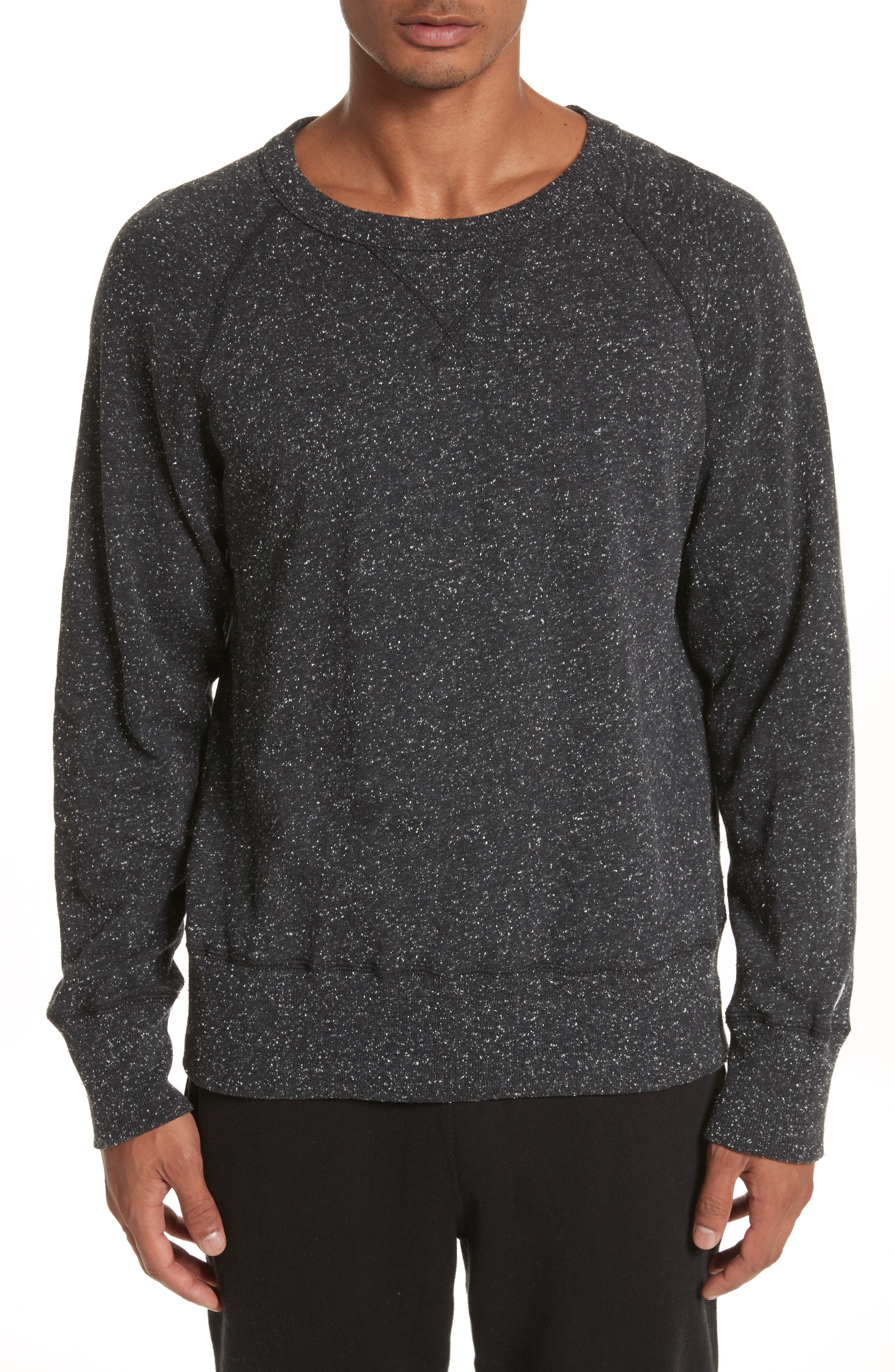 + Champion Heathered Crewneck Sweatshirt,                             Main thumbnail 1, color,                             Black