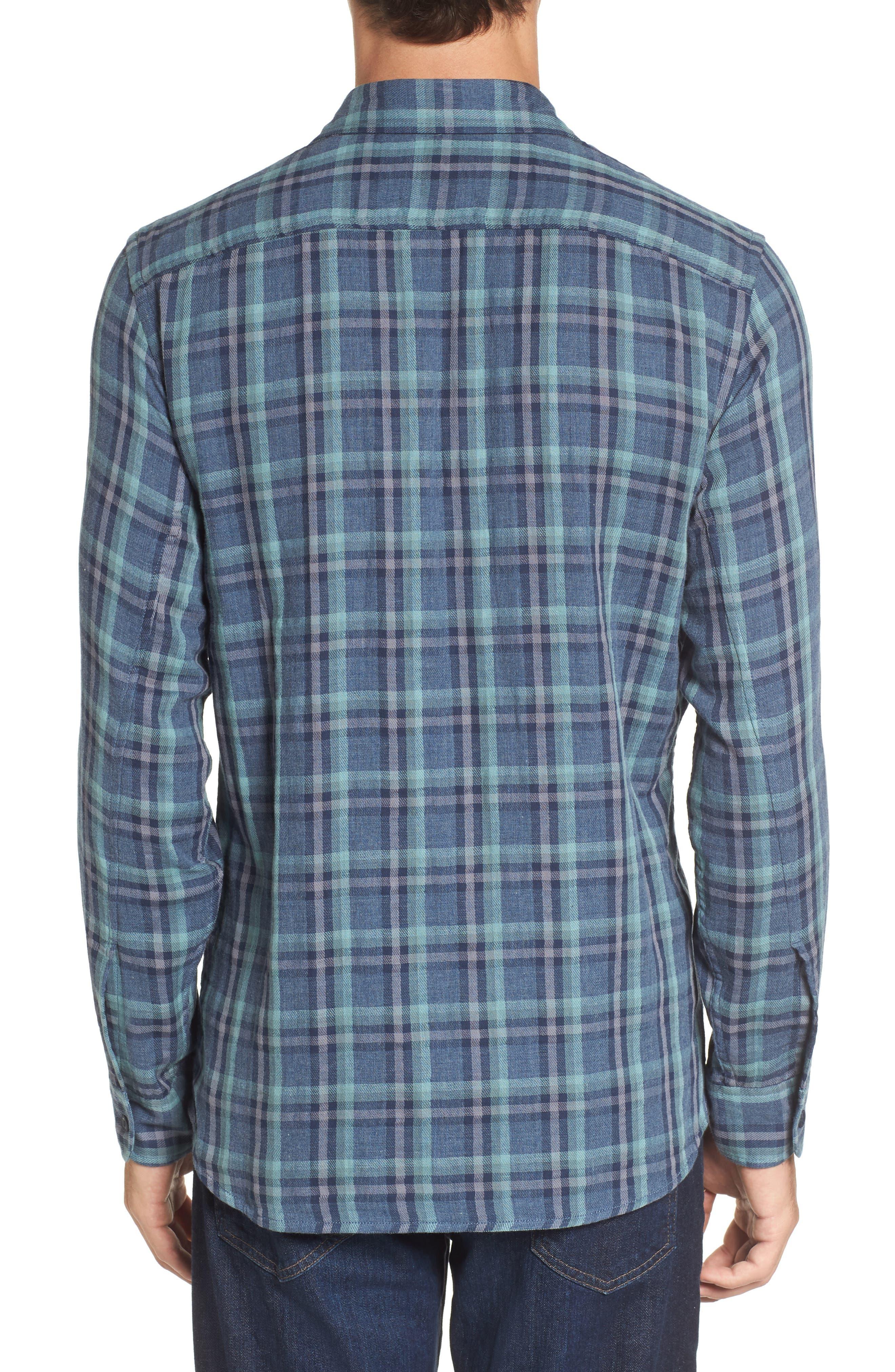 Smith Double Cloth Plaid Sport Shirt,                             Alternate thumbnail 2, color,                             Blue Navy Seafoam