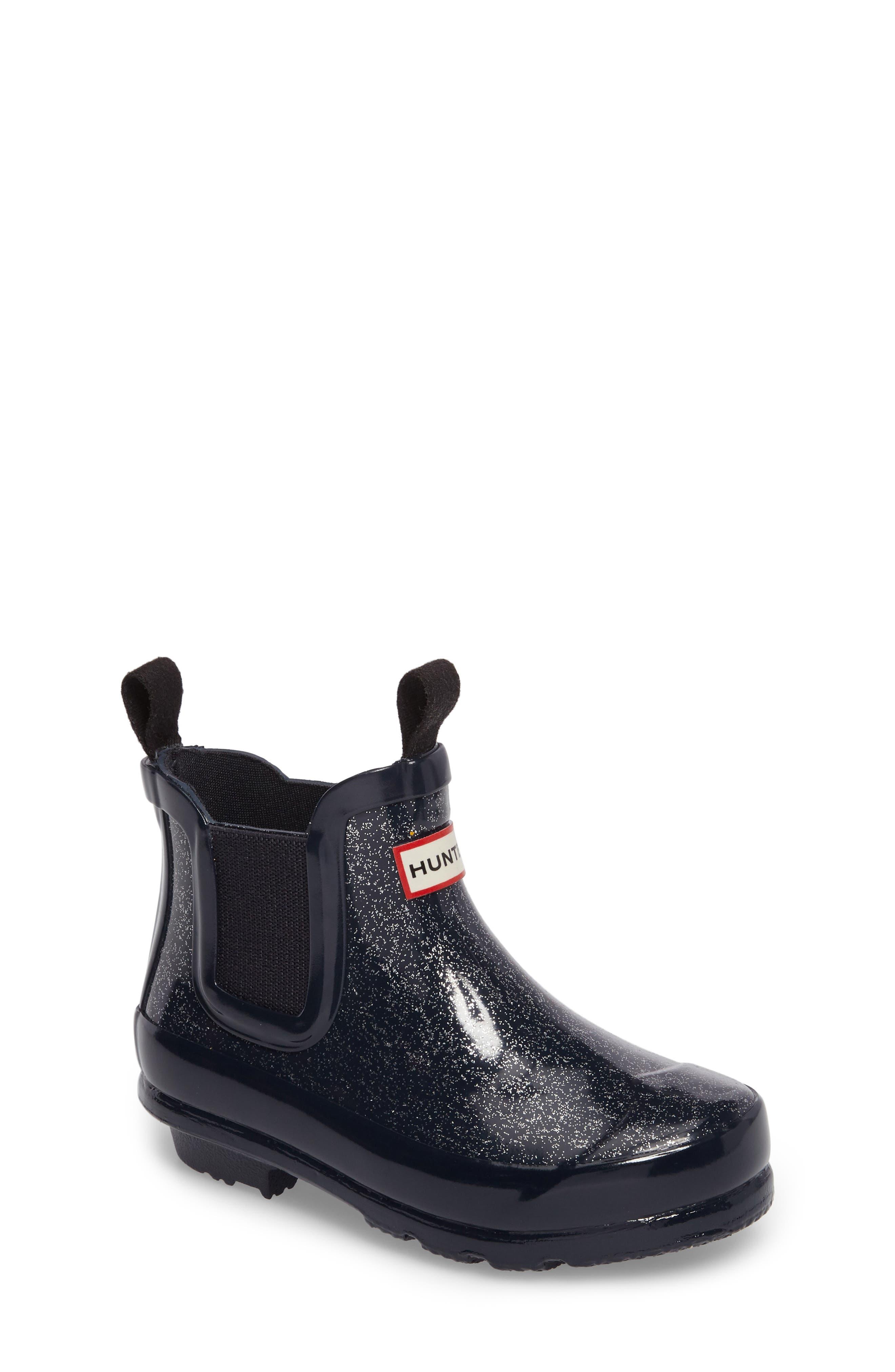 Main Image - Hunter Originals Glittery Waterproof Chelsea Boot (Toddler)