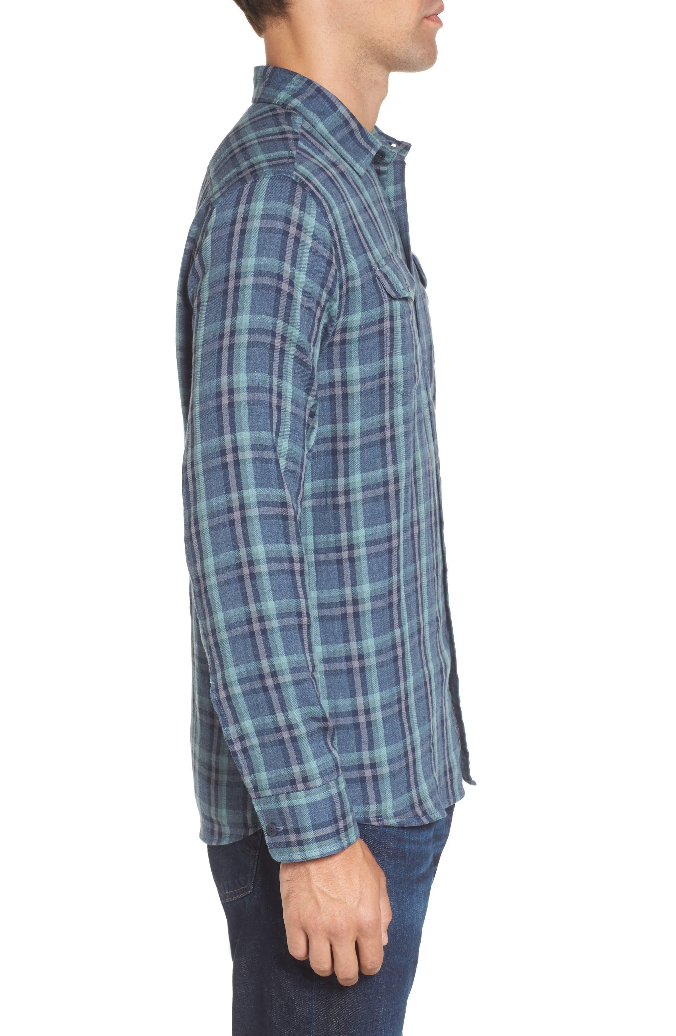Smith Double Cloth Plaid Sport Shirt,                             Alternate thumbnail 3, color,                             Blue Navy Seafoam