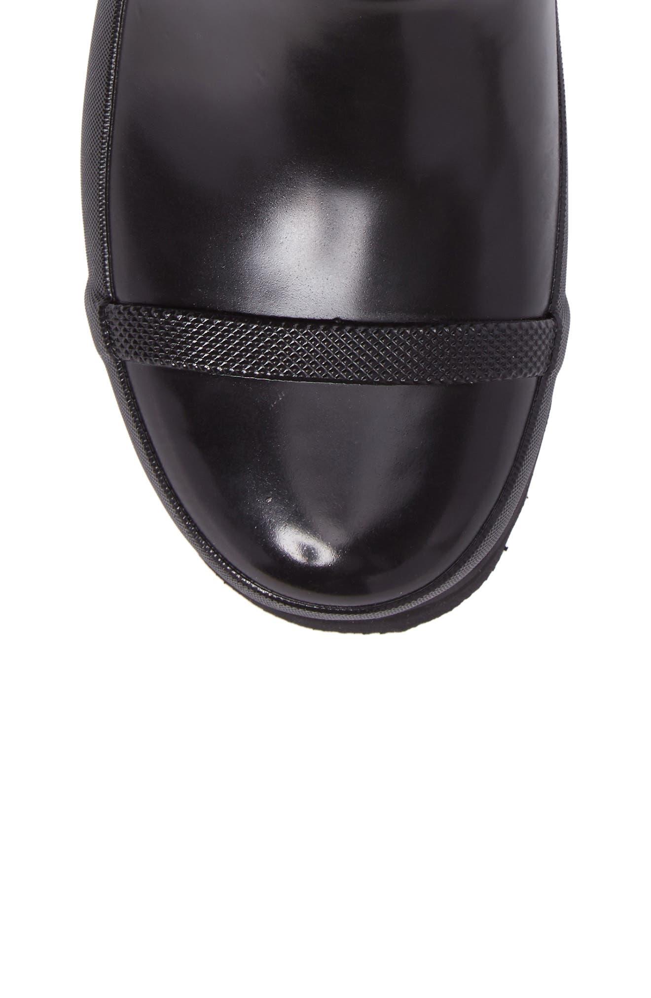 Joan Glossy Short Rain Boot,                             Alternate thumbnail 6, color,                             Black/ Sea Salt