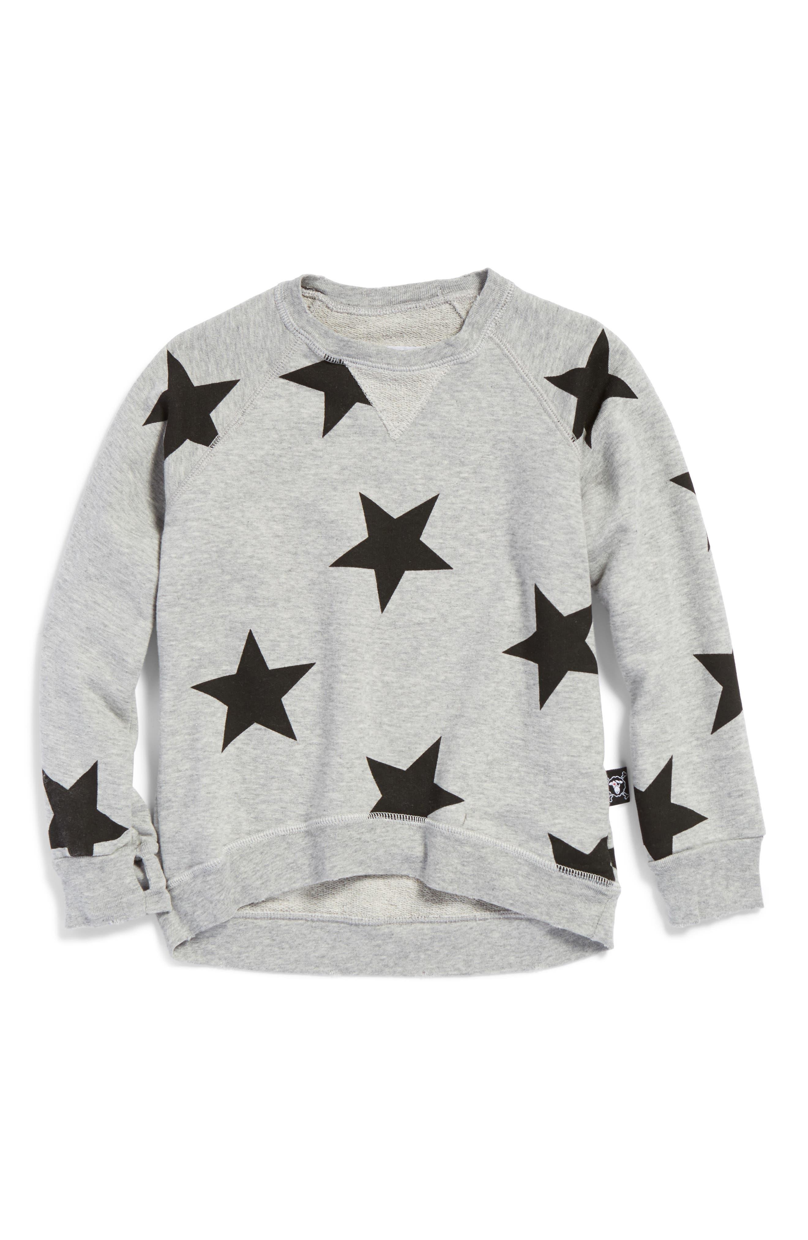 NUNUNU Star Print Sweatshirt (Toddler Girls & Little Girls)
