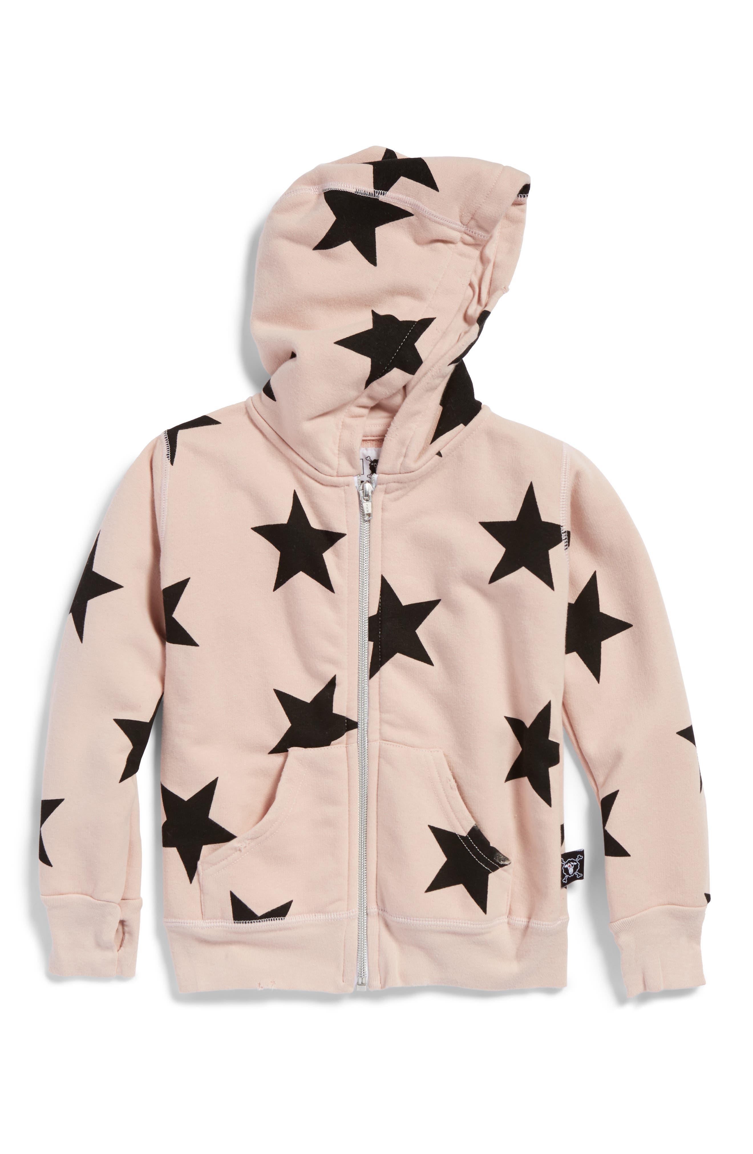 Star Zip Hoodie,                         Main,                         color, Powder Pink