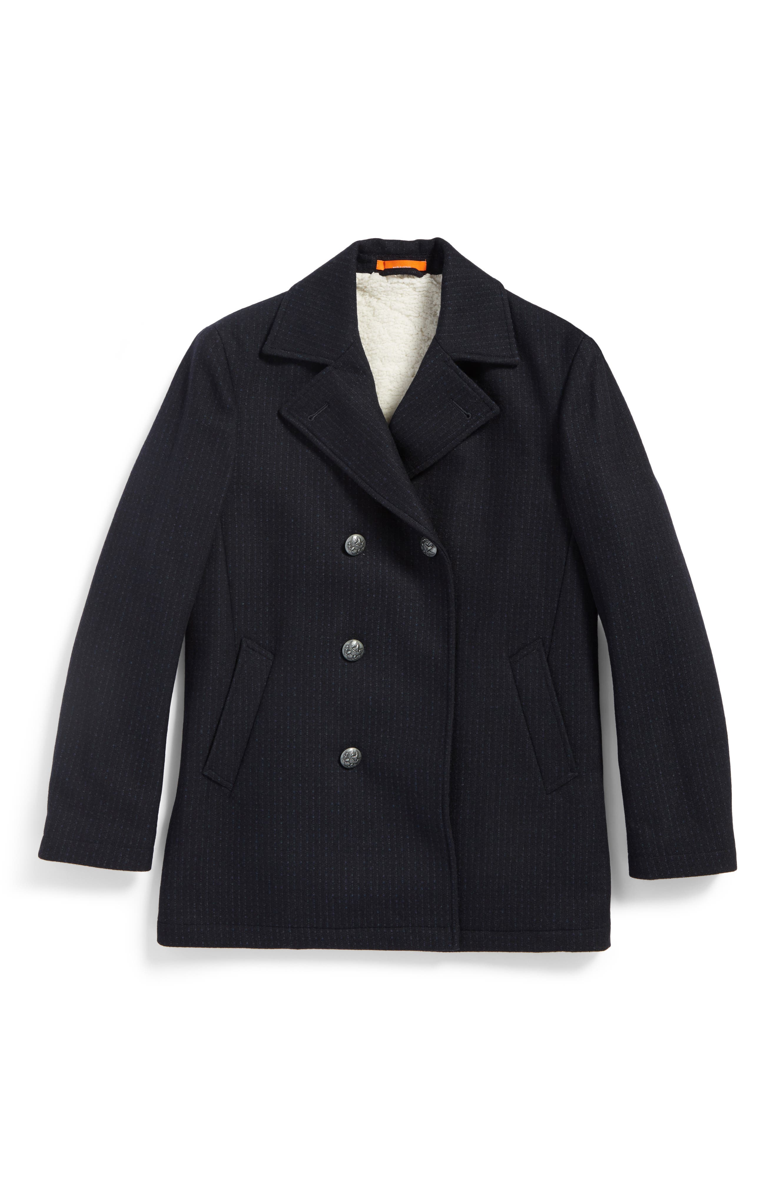 Wool Blend Peacoat,                         Main,                         color, Navy