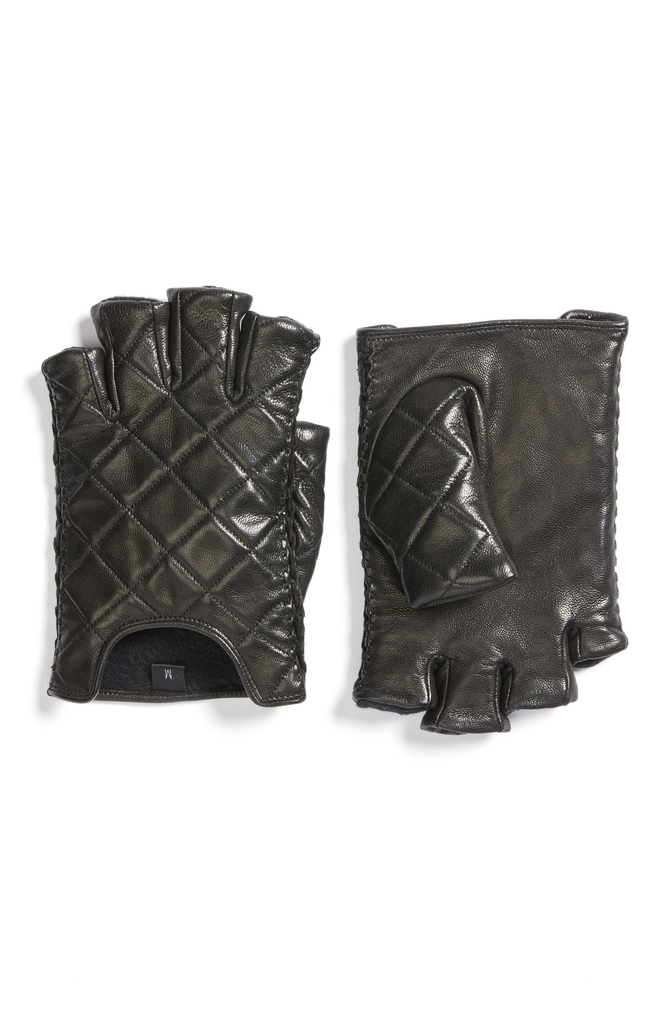 Quilted Goatskin Leather Fingerless Gloves,                         Main,                         color, Black