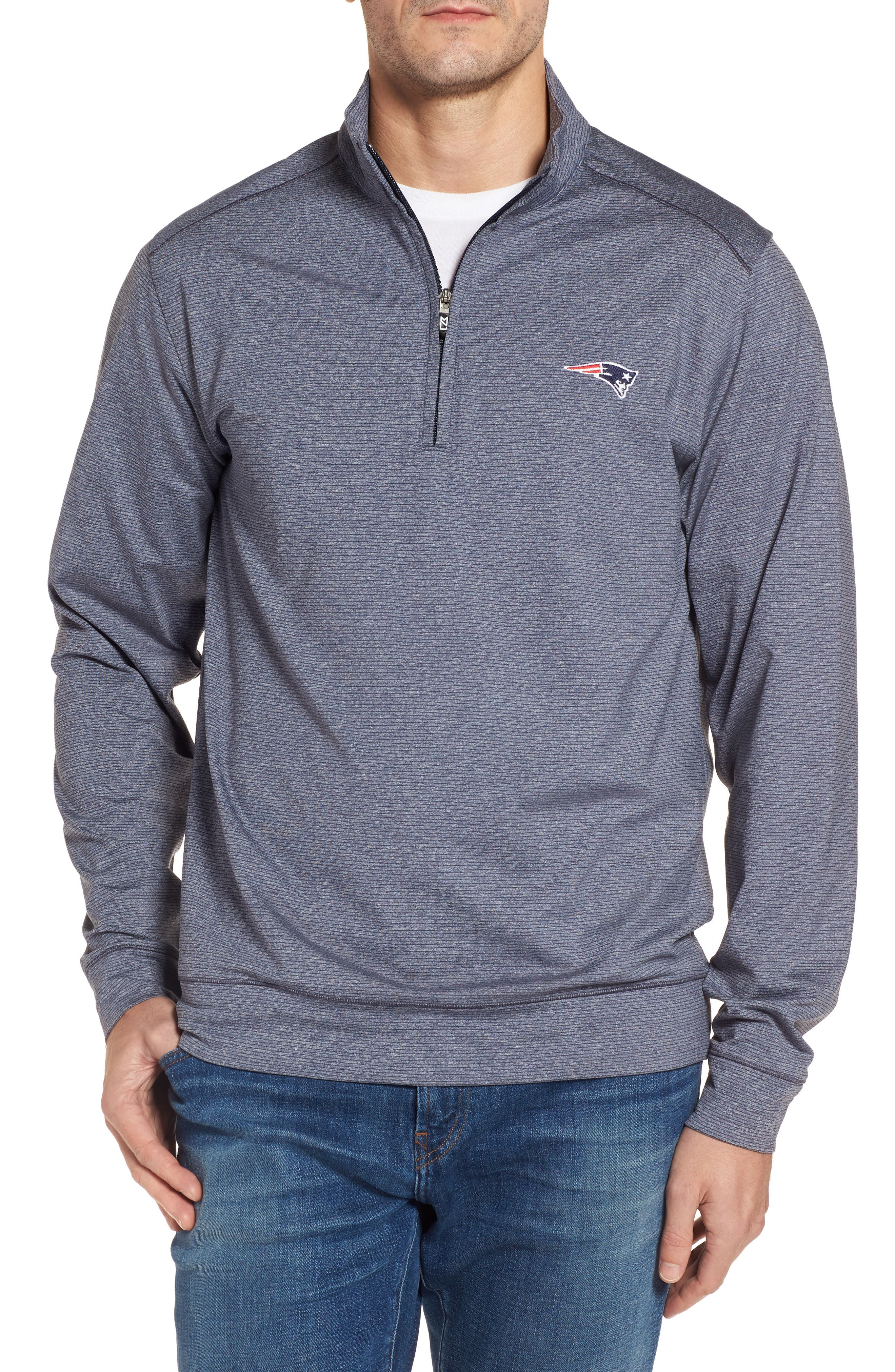 Cutter & Buck Shoreline - New England Patriots Half Zip Pullover