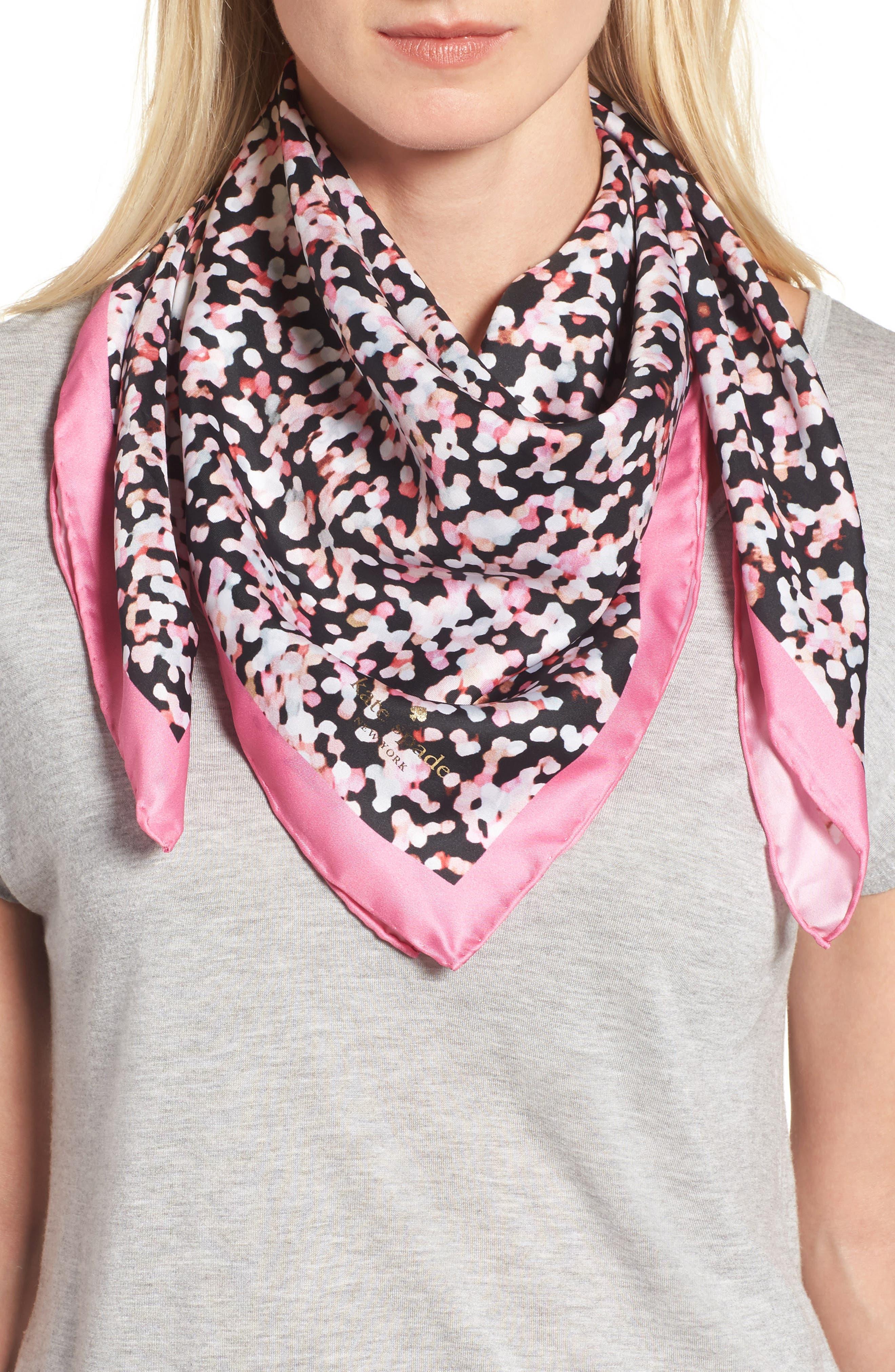 gifting bubbles square silk scarf,                         Main,                         color, Parisian Pink