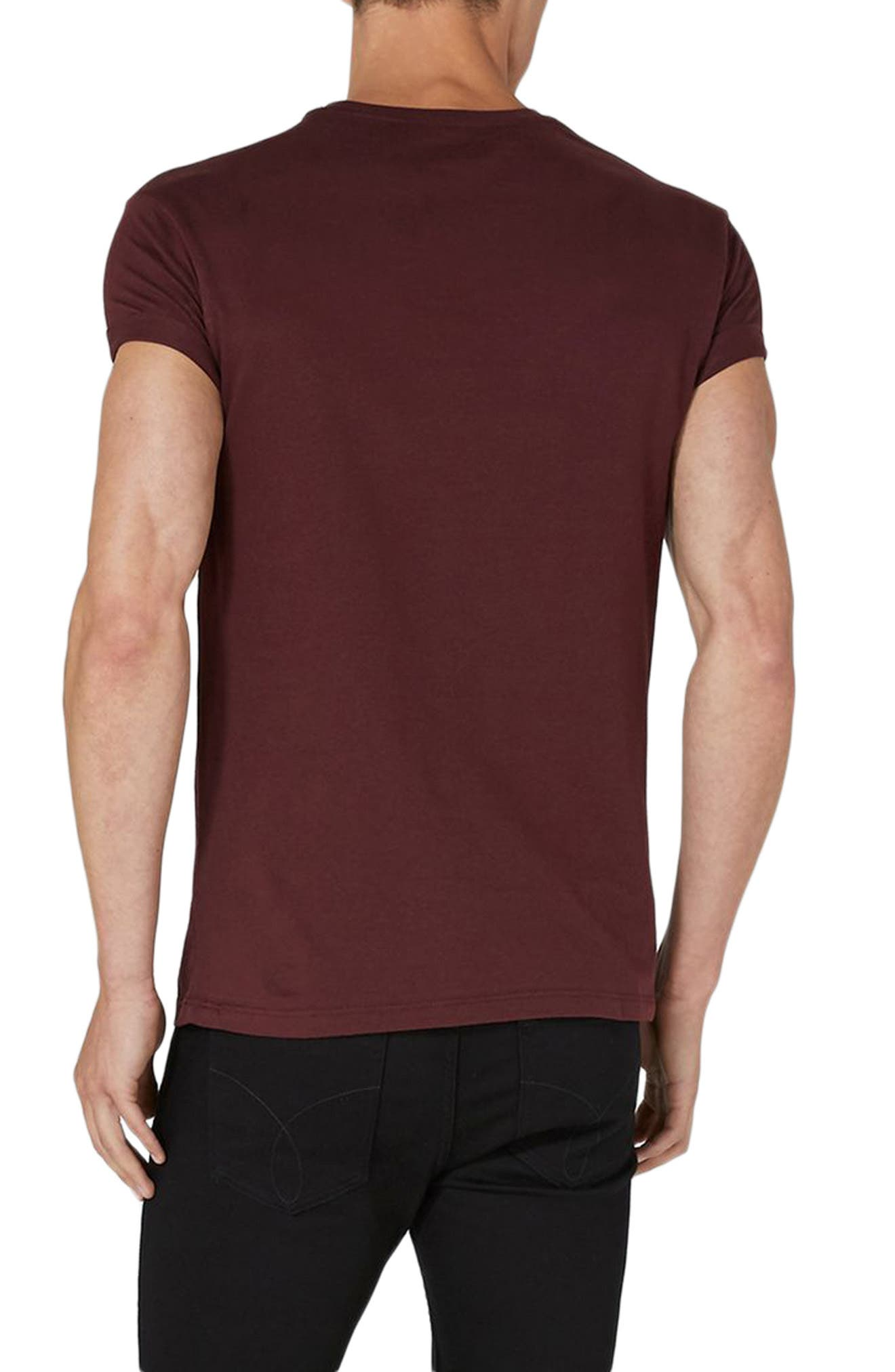 Muscle Fit Roller T-Shirt,                             Alternate thumbnail 2, color,                             Burgundy
