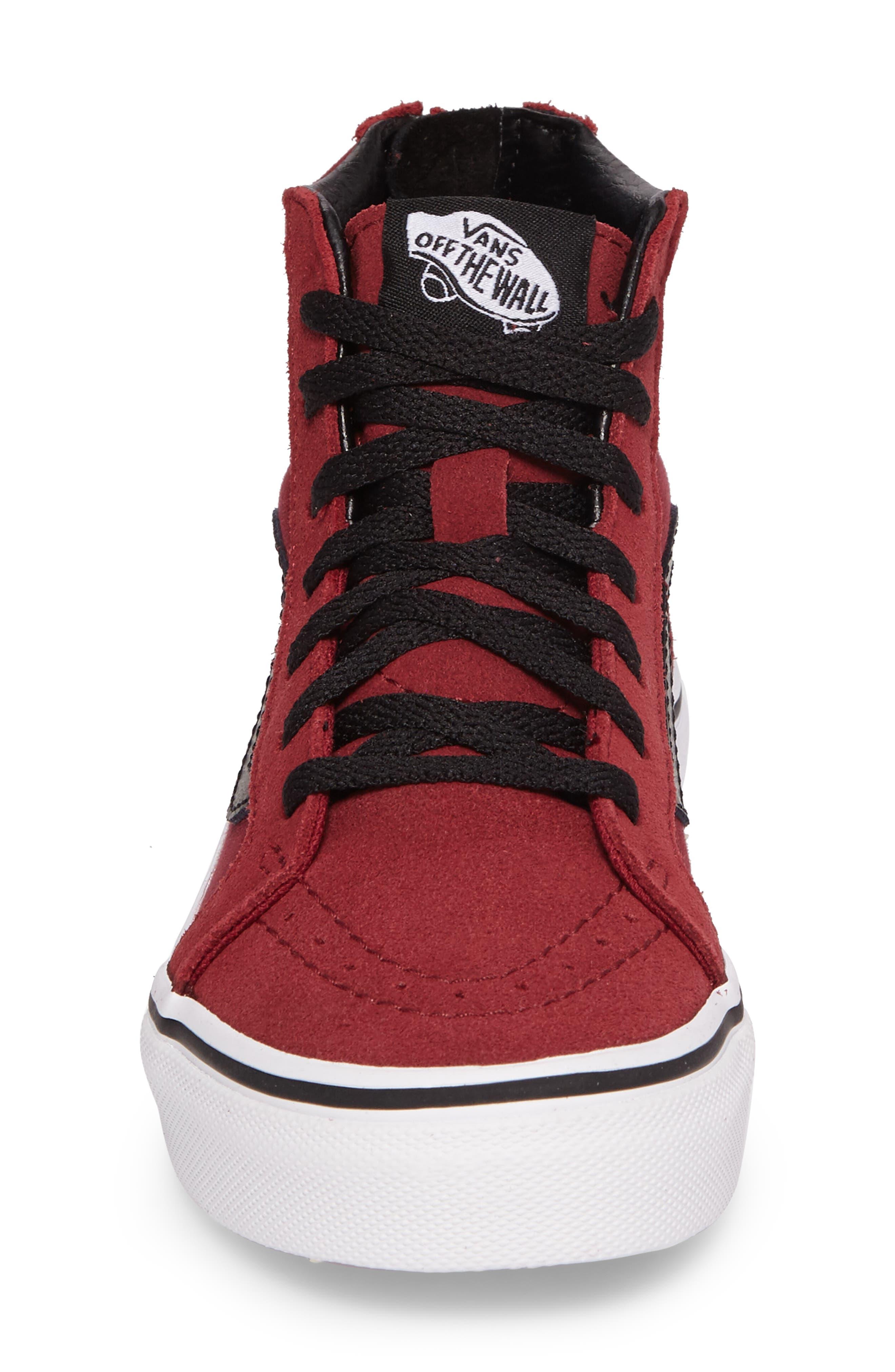 SK8-Hi Zip Sneaker,                             Alternate thumbnail 4, color,                             Tibetan Red/ Black