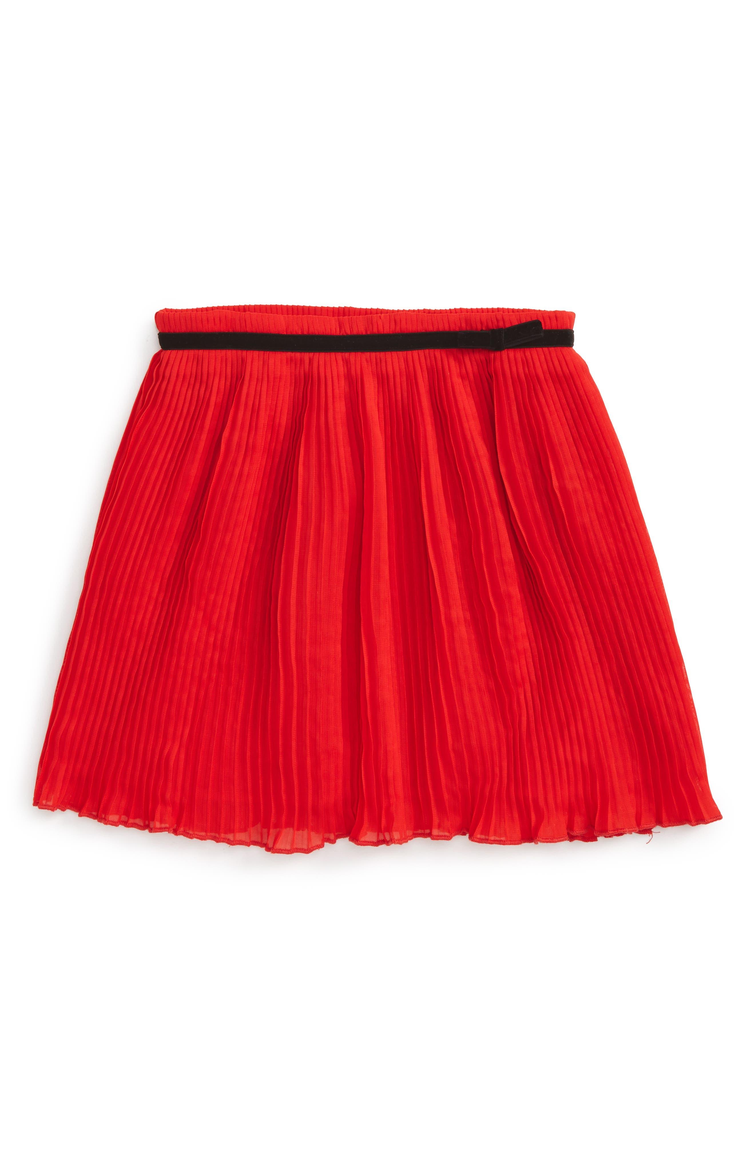 pleated chiffon skirt,                         Main,                         color, Studio Red