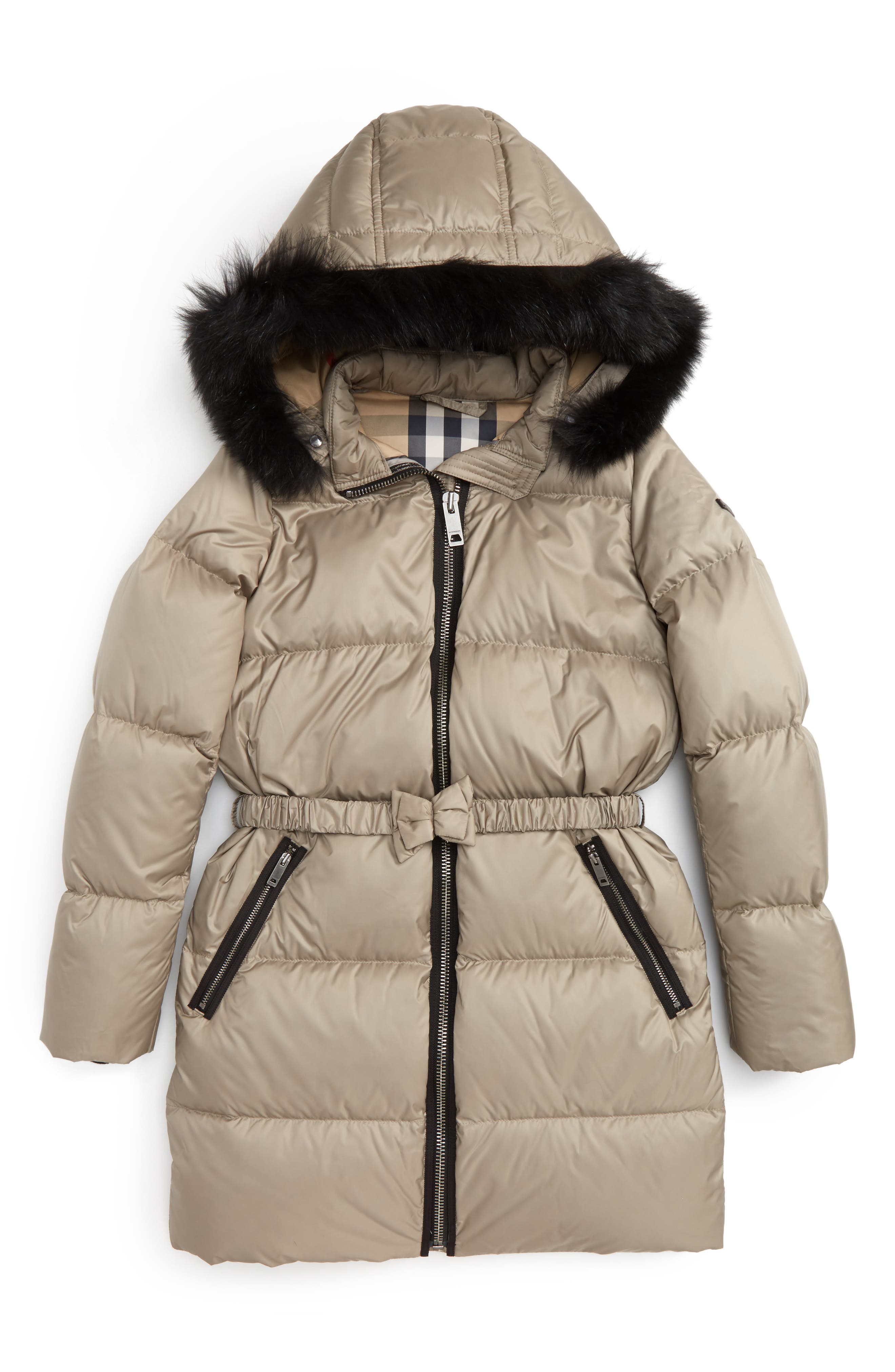 Burberry Consillia Down Parka with Genuine Fox Fur Trim (Little Girls & Big Girls)