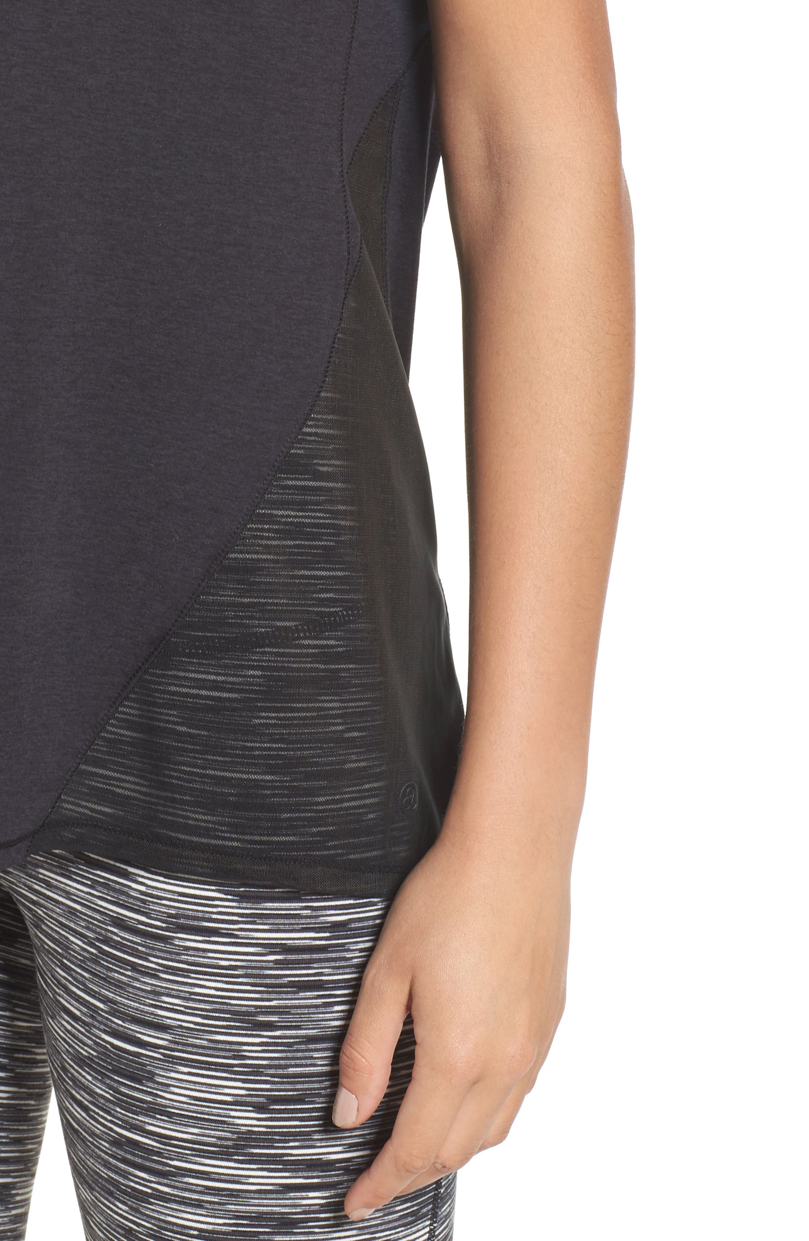 Fiona Mesh Inset Tee,                             Alternate thumbnail 9, color,                             Black