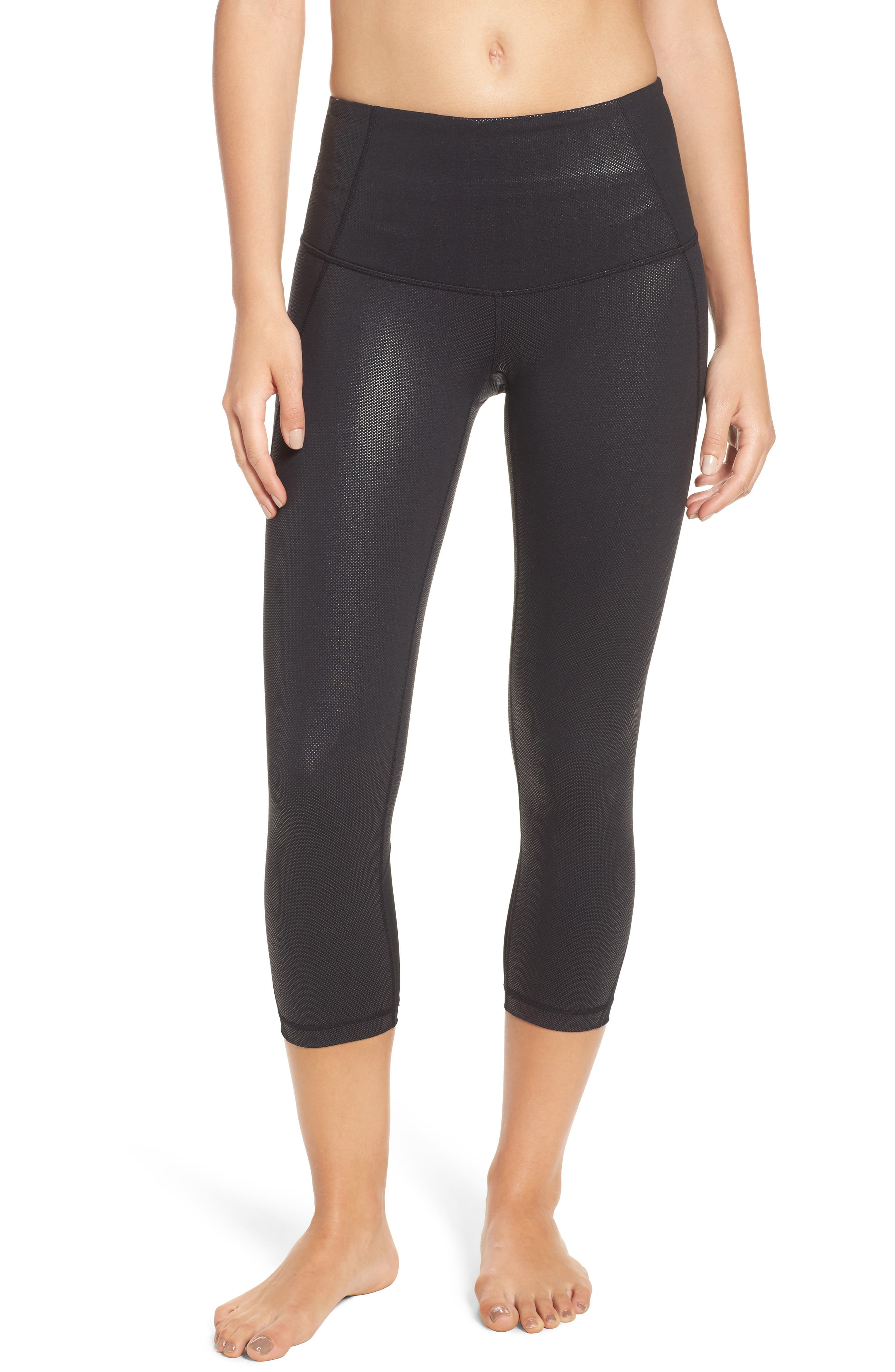 Hatha Crop Leggings,                             Main thumbnail 1, color,                             Black Pearl Dot