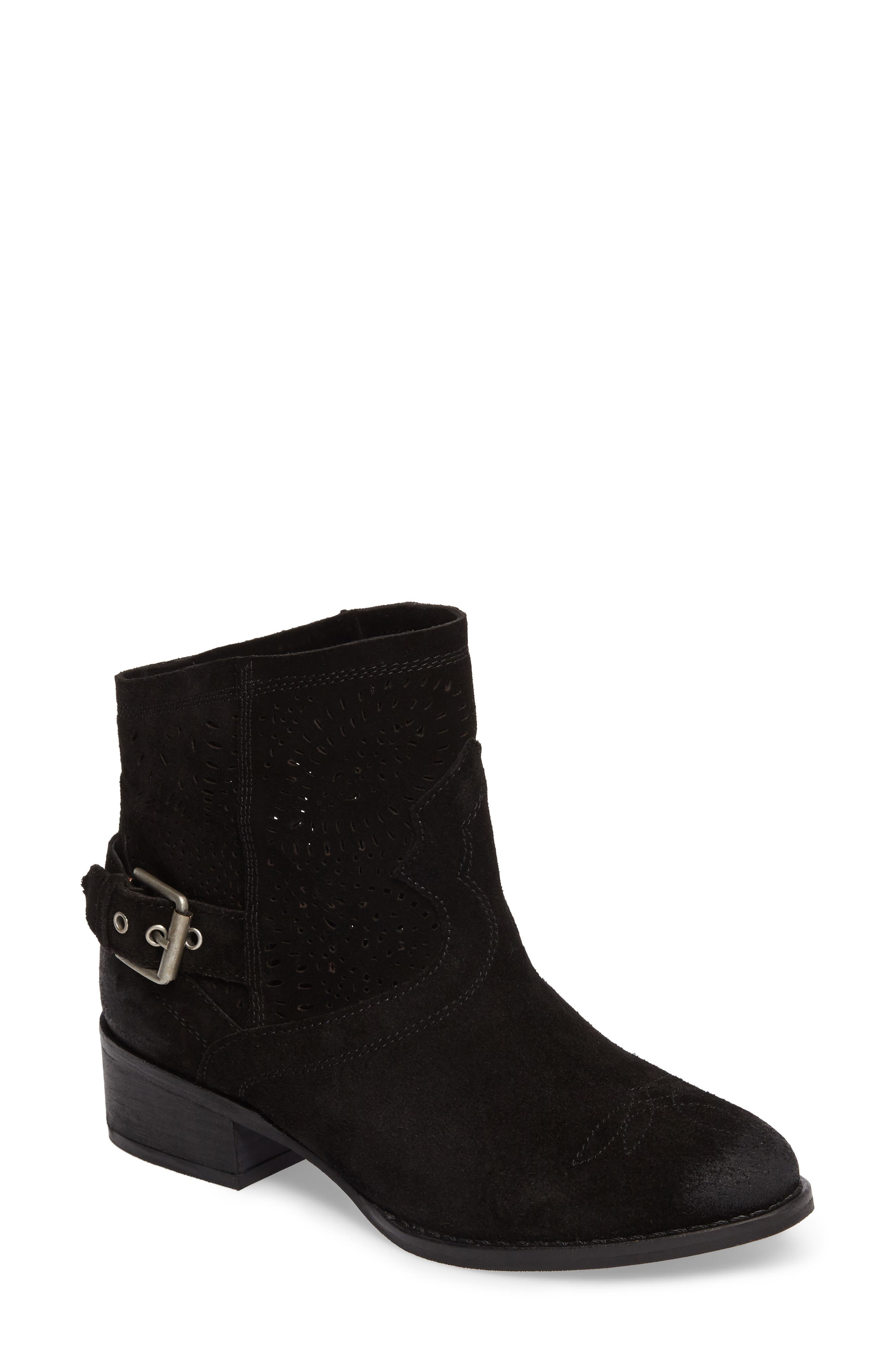 Zoey Perforated Bootie,                         Main,                         color, Black Suede