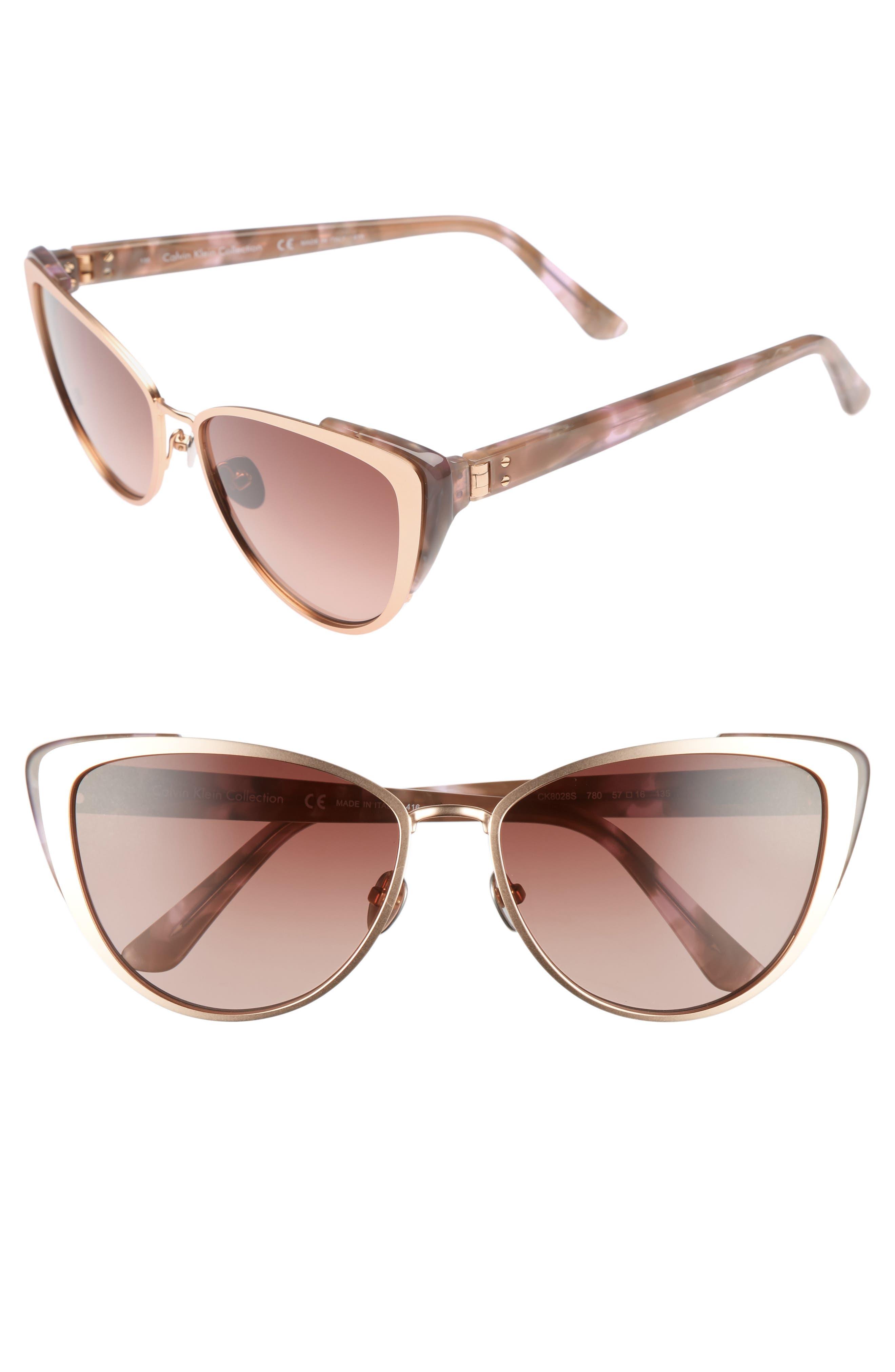 Alternate Image 1 Selected - CALVIN KLEIN 57mm Cat Eye Sunglasses