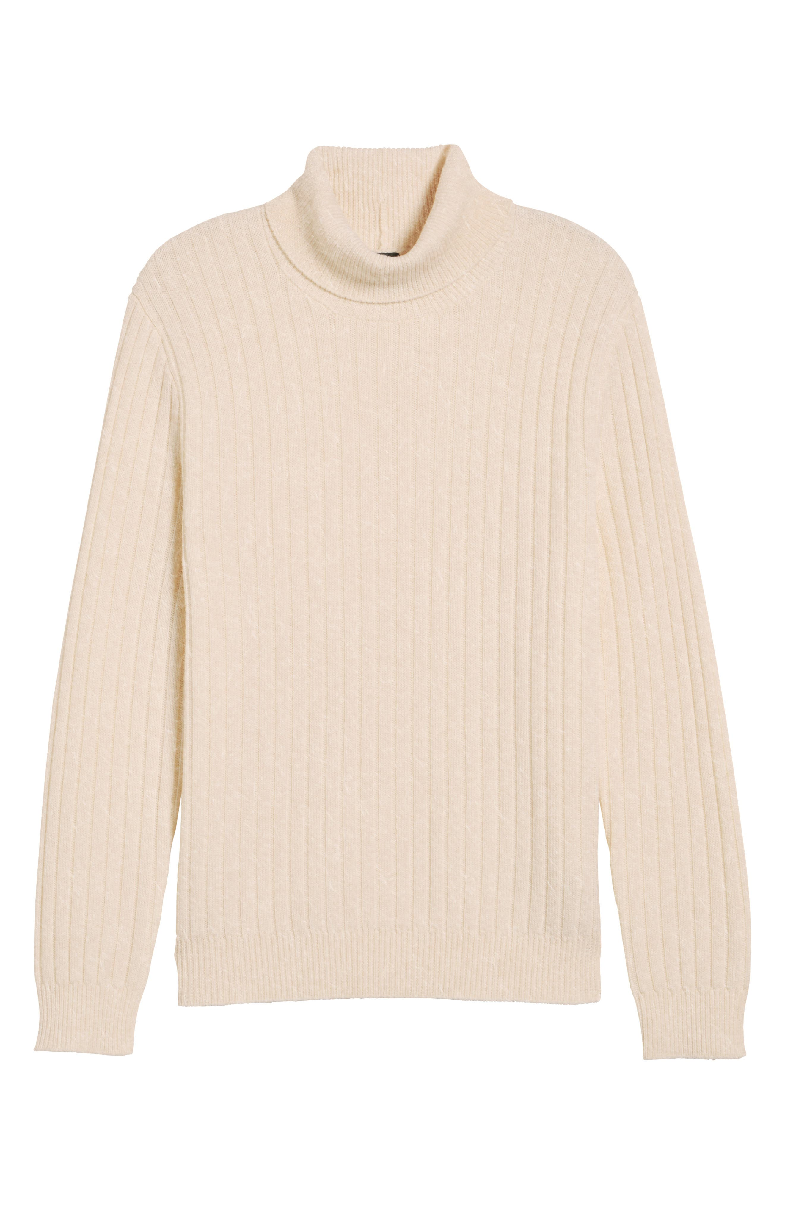 Ribbed Turtleneck Wool Sweater,                             Alternate thumbnail 7, color,                             Cream