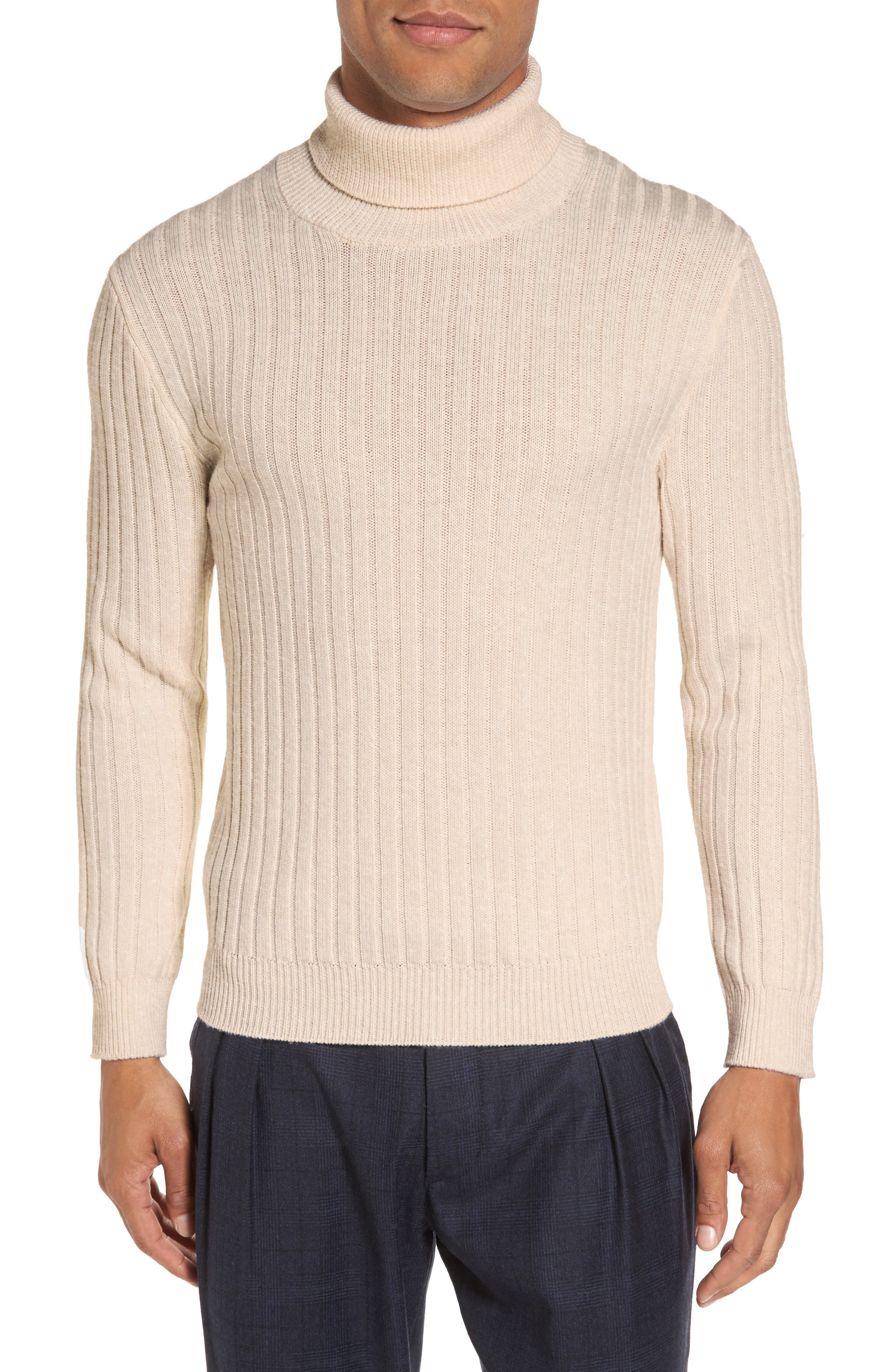 Ribbed Turtleneck Wool Sweater,                             Main thumbnail 1, color,                             Cream