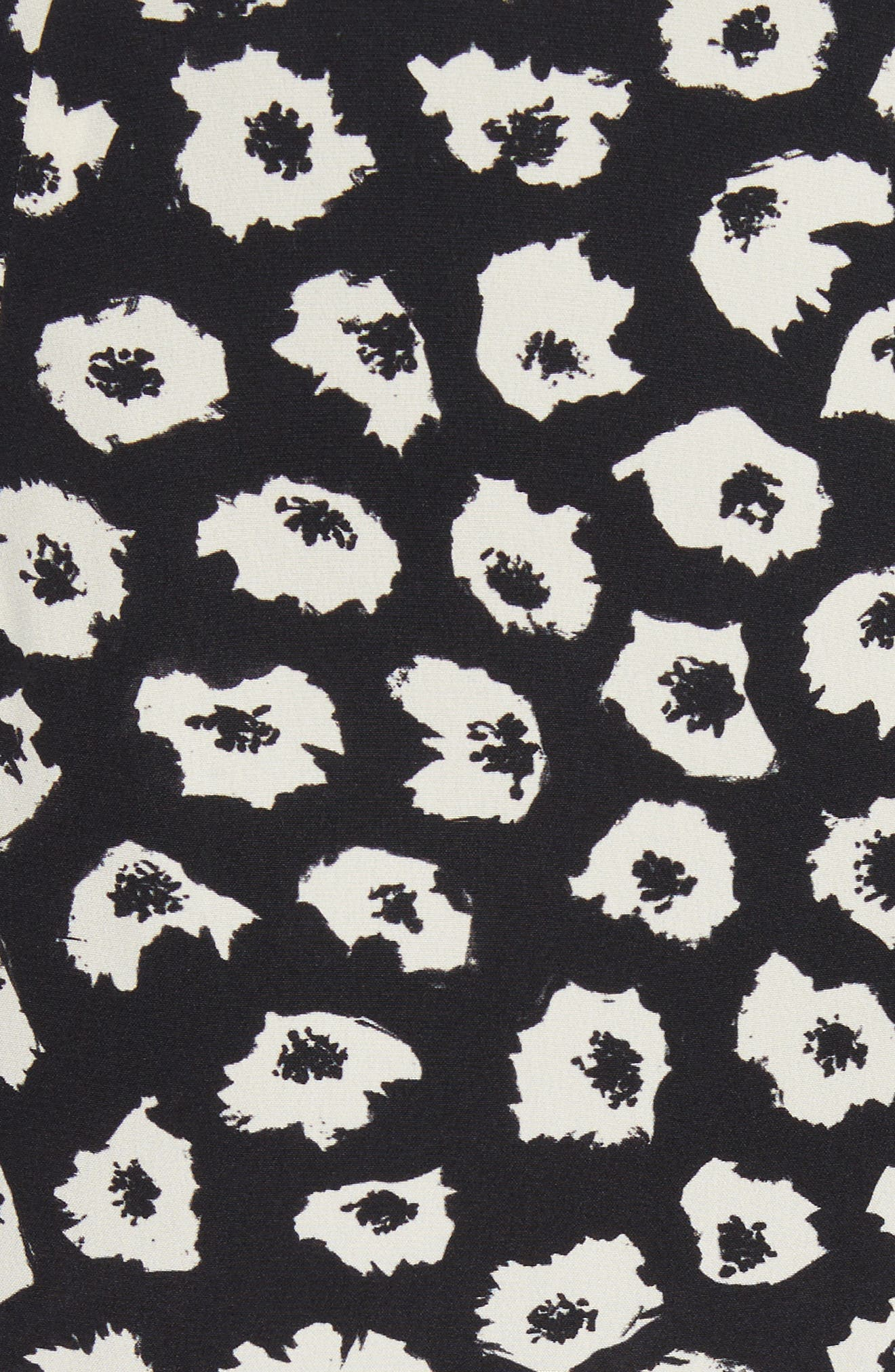 Ruffle Print Silk Midi Skirt,                             Alternate thumbnail 5, color,                             Black/ Off White Jasmine