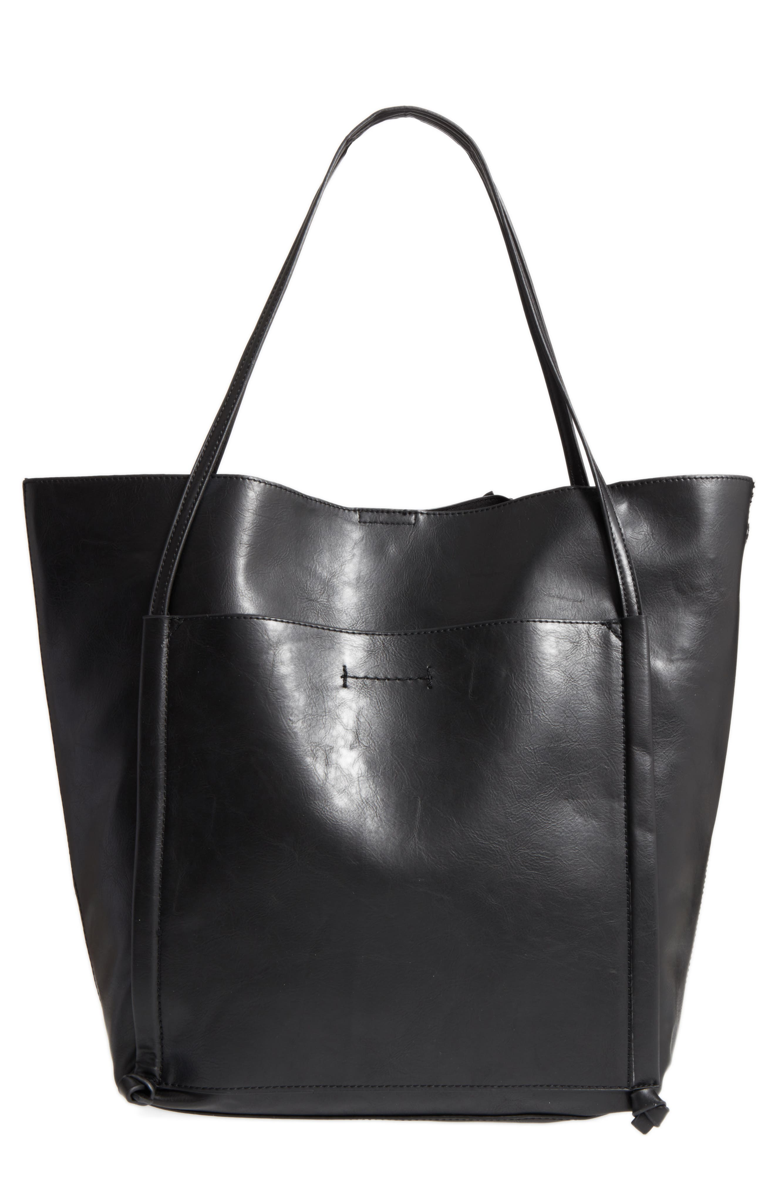 Harley Faux Leather Tote,                             Main thumbnail 1, color,                             Black