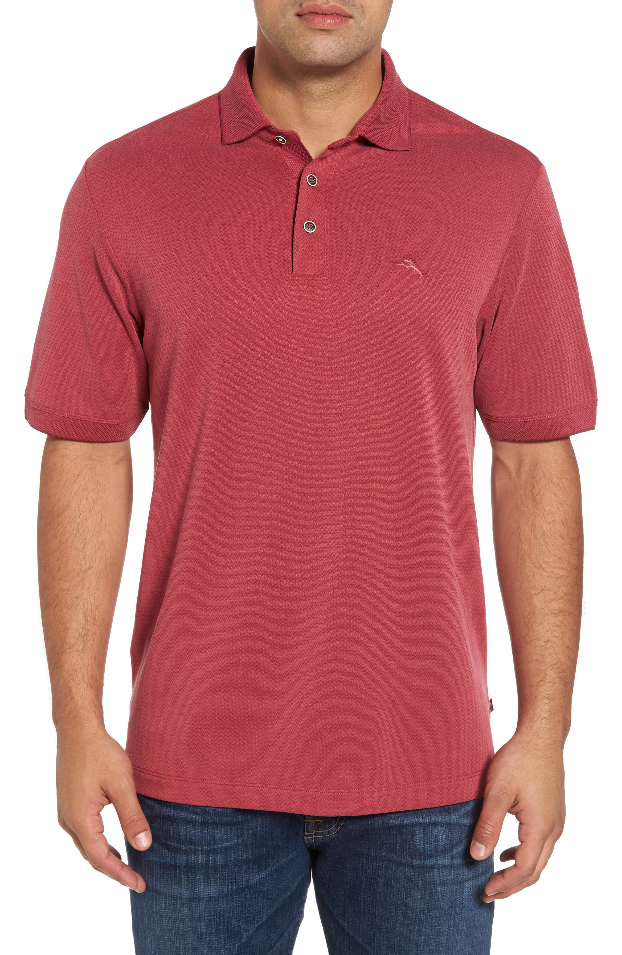 Ocean View Short Sleeve Jacquard Polo,                         Main,                         color, Beet Red