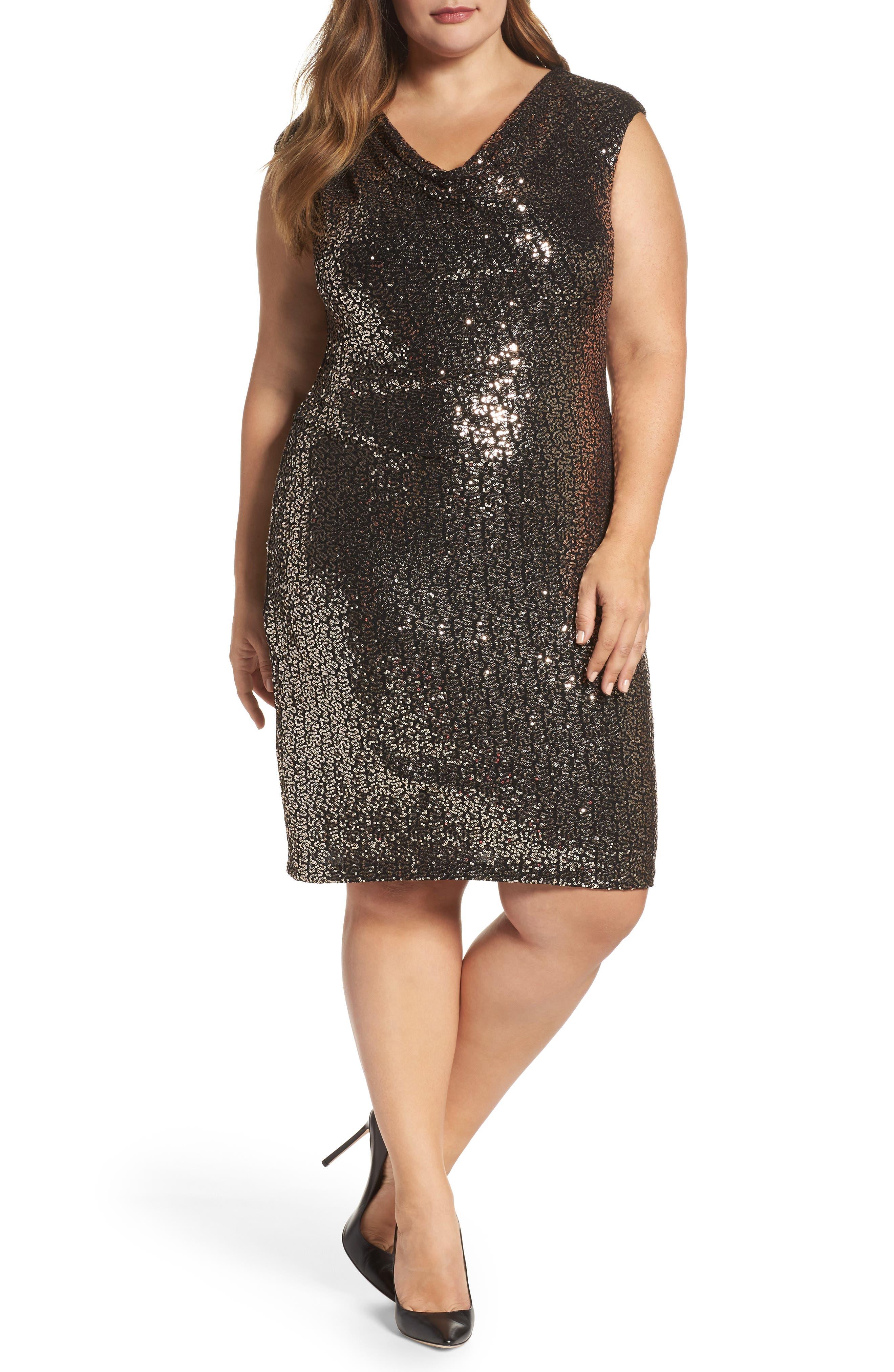 Drape Neck Sequin Sheath Dress,                         Main,                         color, Black/ Bronze
