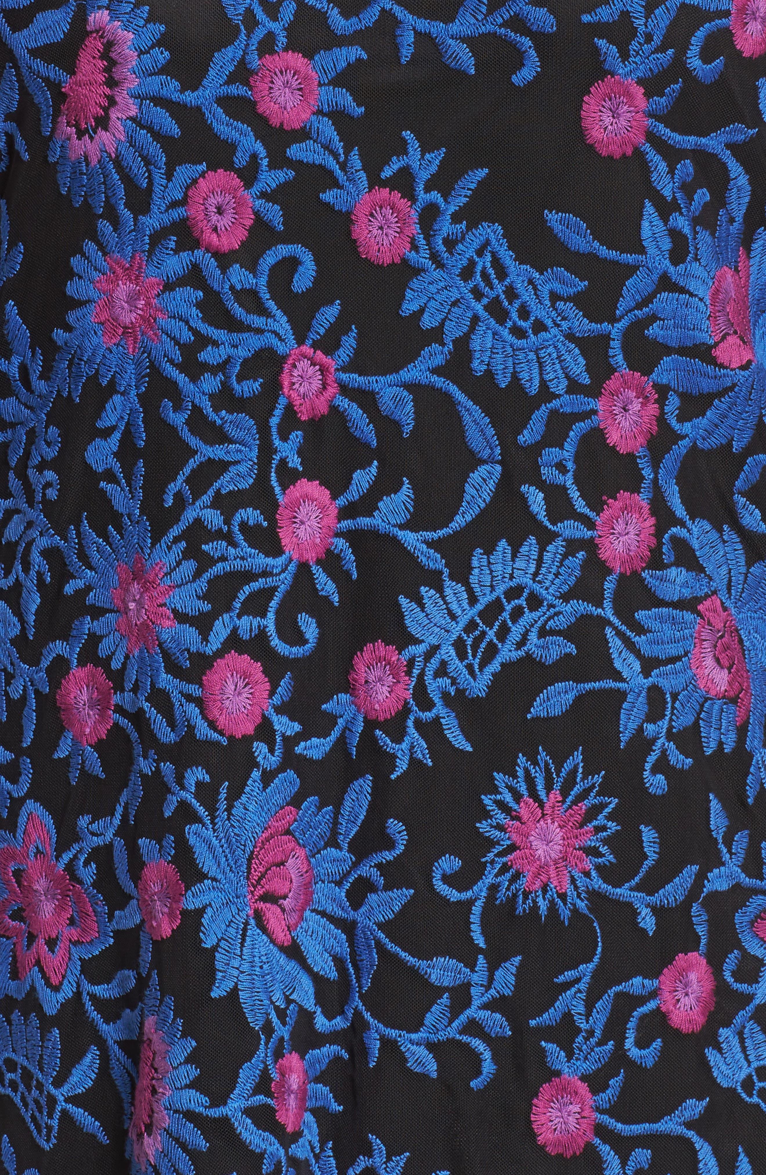 Marrakesh Embroidered Trapeze Dress,                             Alternate thumbnail 5, color,                             Blue Multi