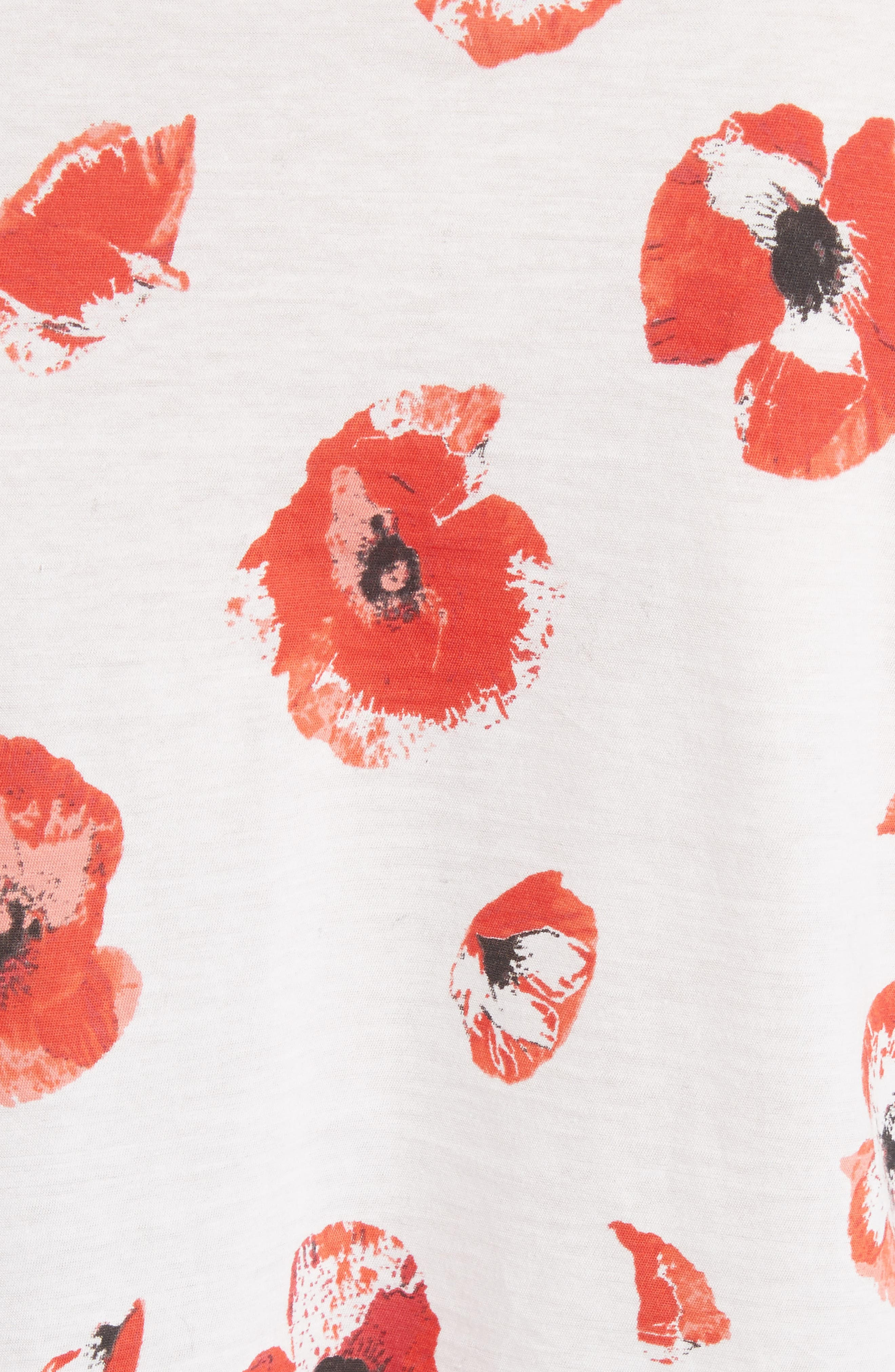 Floral Peplum Tee,                             Alternate thumbnail 5, color,                             Creme/ Coral Poppy