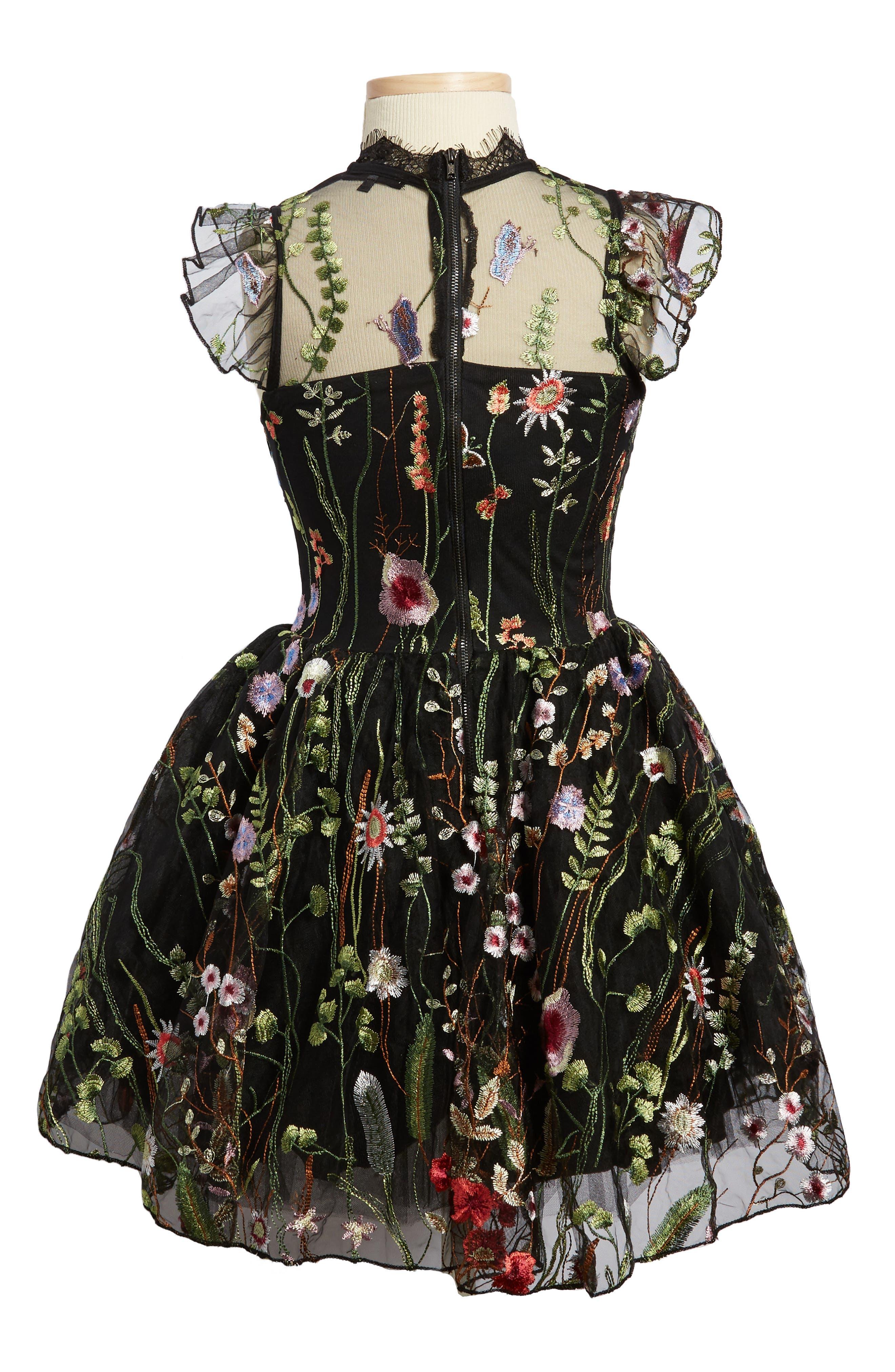 Alternate Image 2  - Miss Behave Charisse Embroidered Floral Dress (Big Girls)